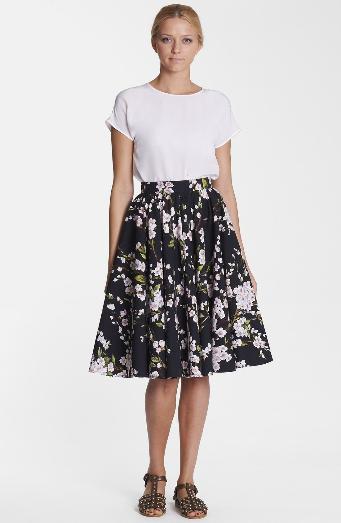 Print A-Line Cotton Skirt,                         Main,                         color, Black/ Pink