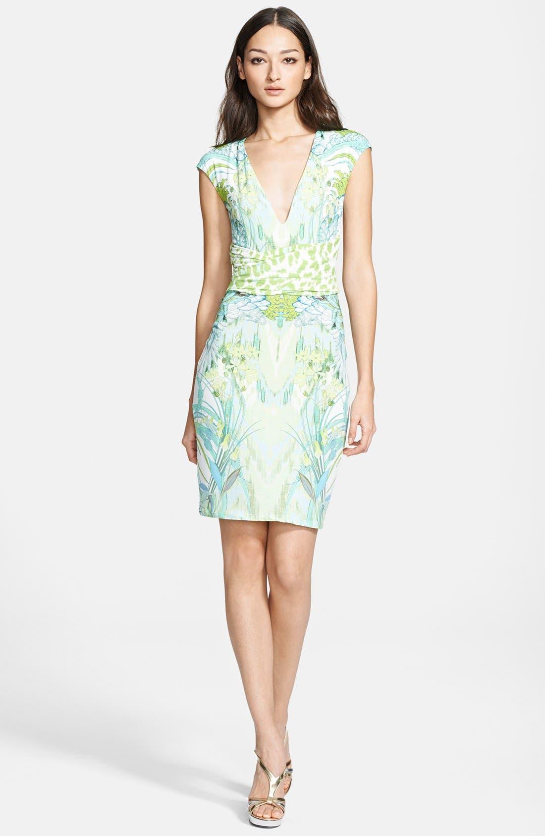 Print Sheath Dress,                         Main,                         color, Green Multi