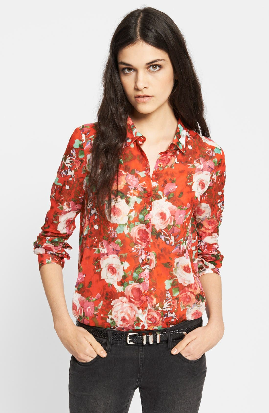 Main Image - The Kooples Floral Print Cotton Blouse