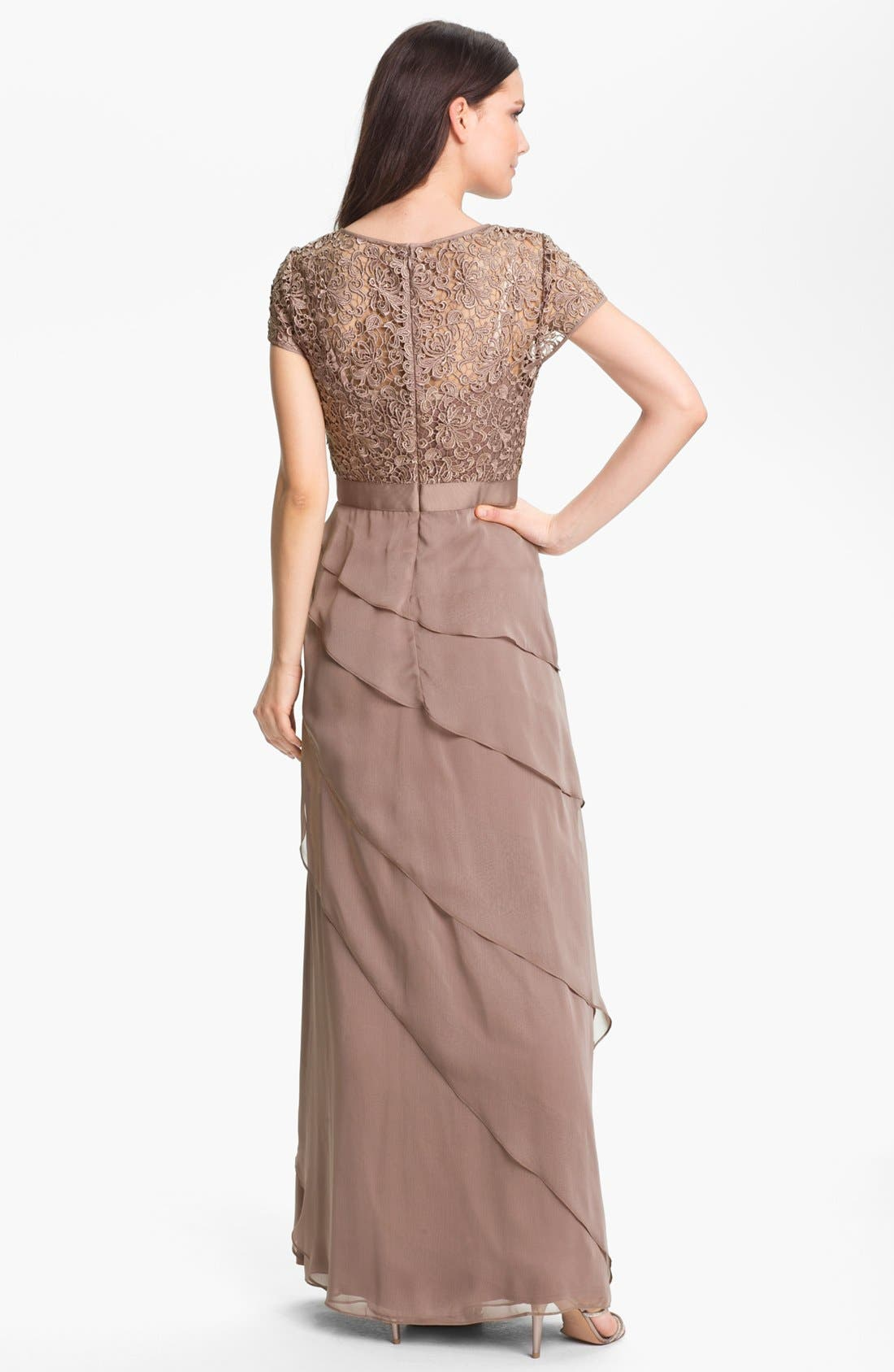 Alternate Image 2  - Adrianna Papell Layered Chiffon & Lace Gown