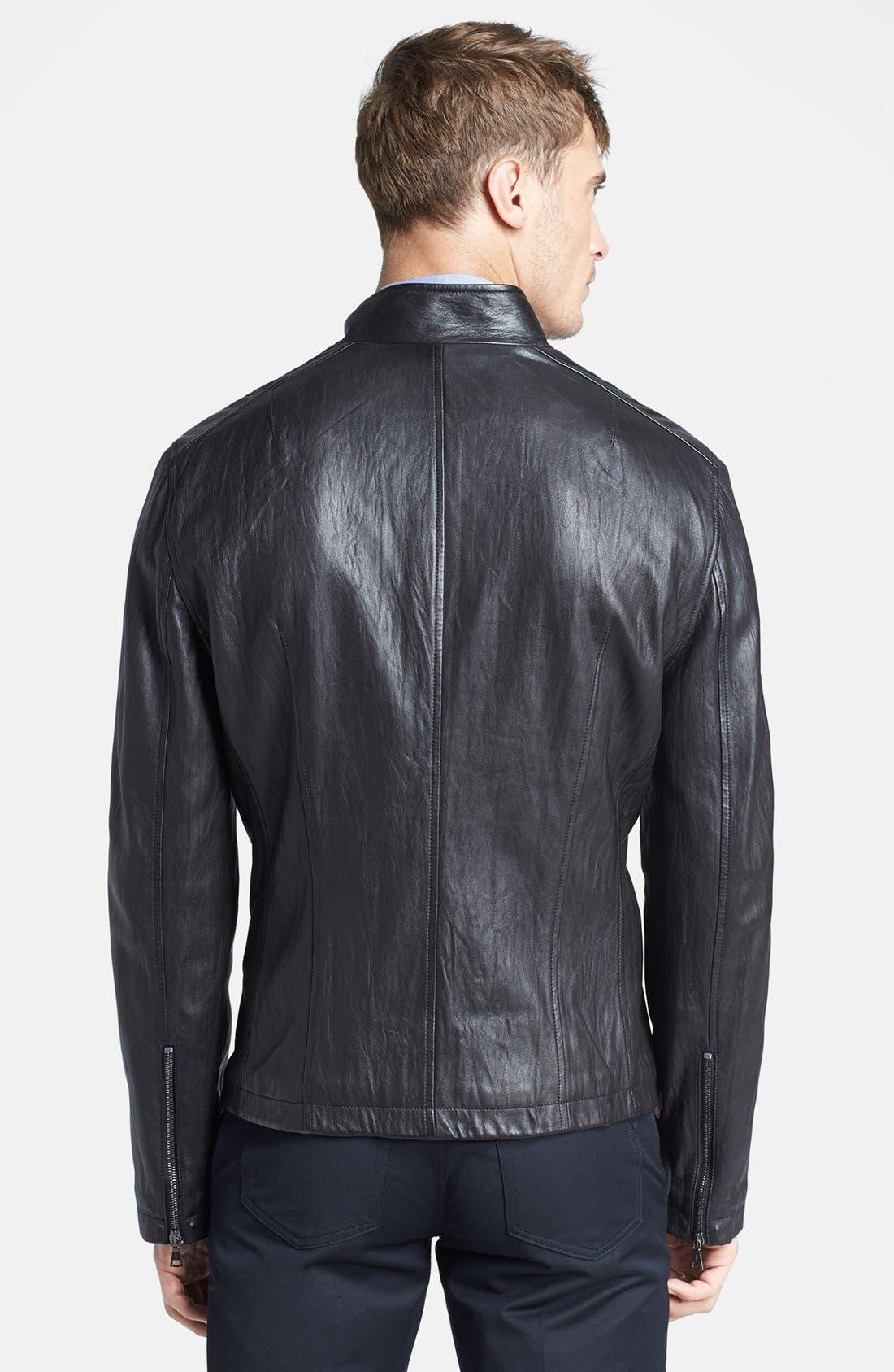 Alternate Image 2  - John Varvatos Collection 'Nappa' Leather Biker Jacket
