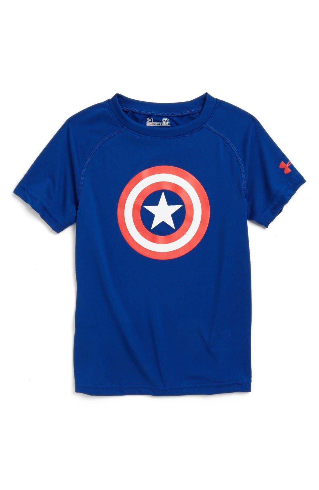 Alternate Image 1 Selected - Under Armour 'Alter Ego - Captain America' HeatGear® T-Shirt (Little Boys)