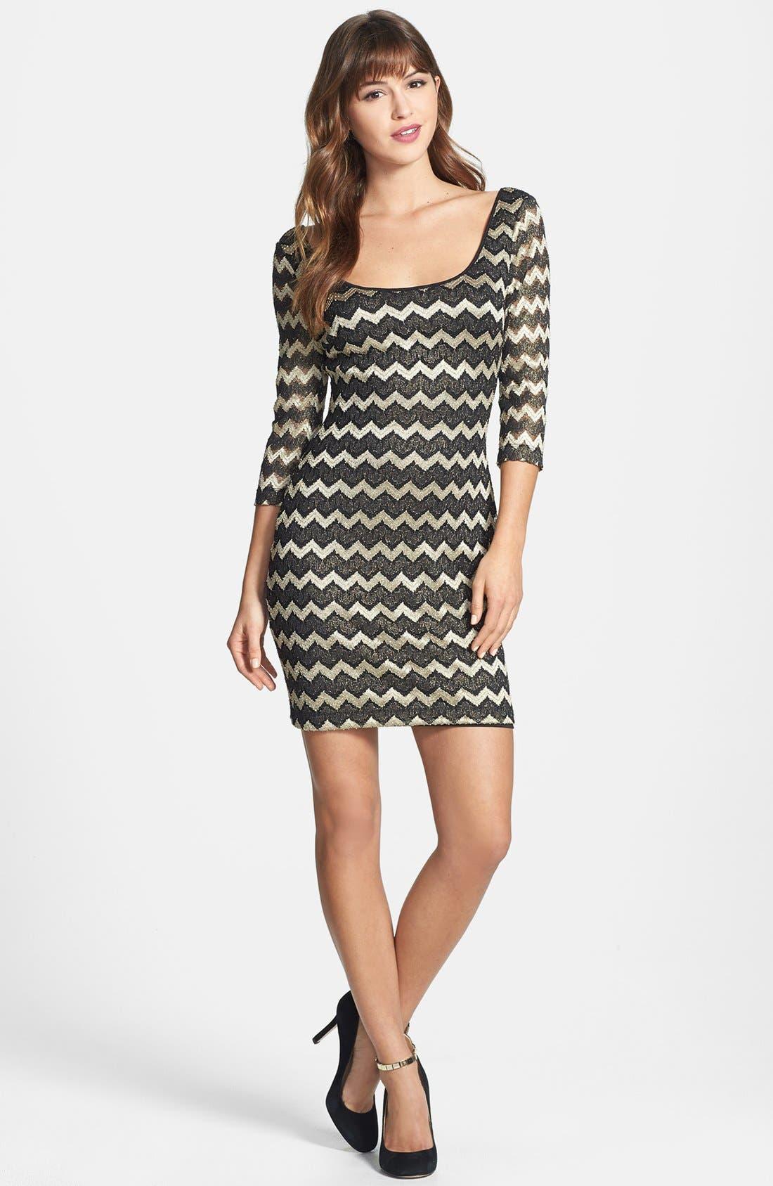 Alternate Image 2  - GUESS Metallic Stripe Lace Sheath Dress