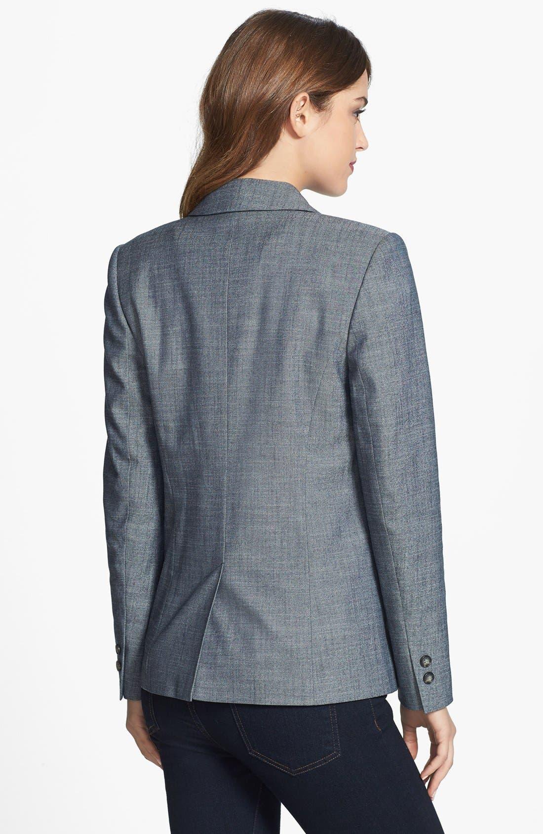 Alternate Image 2  - Halogen® 'Indigo Crosshatch' Single-Button Suit Jacket