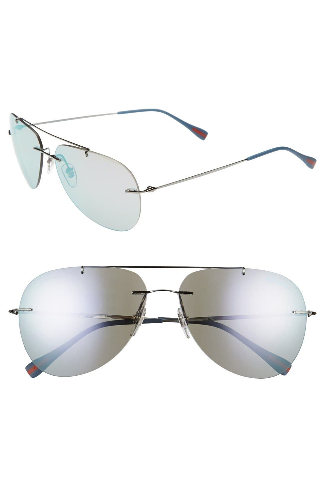 Main Image - Prada 'Pilot' 60mm Rimless Sunglasses