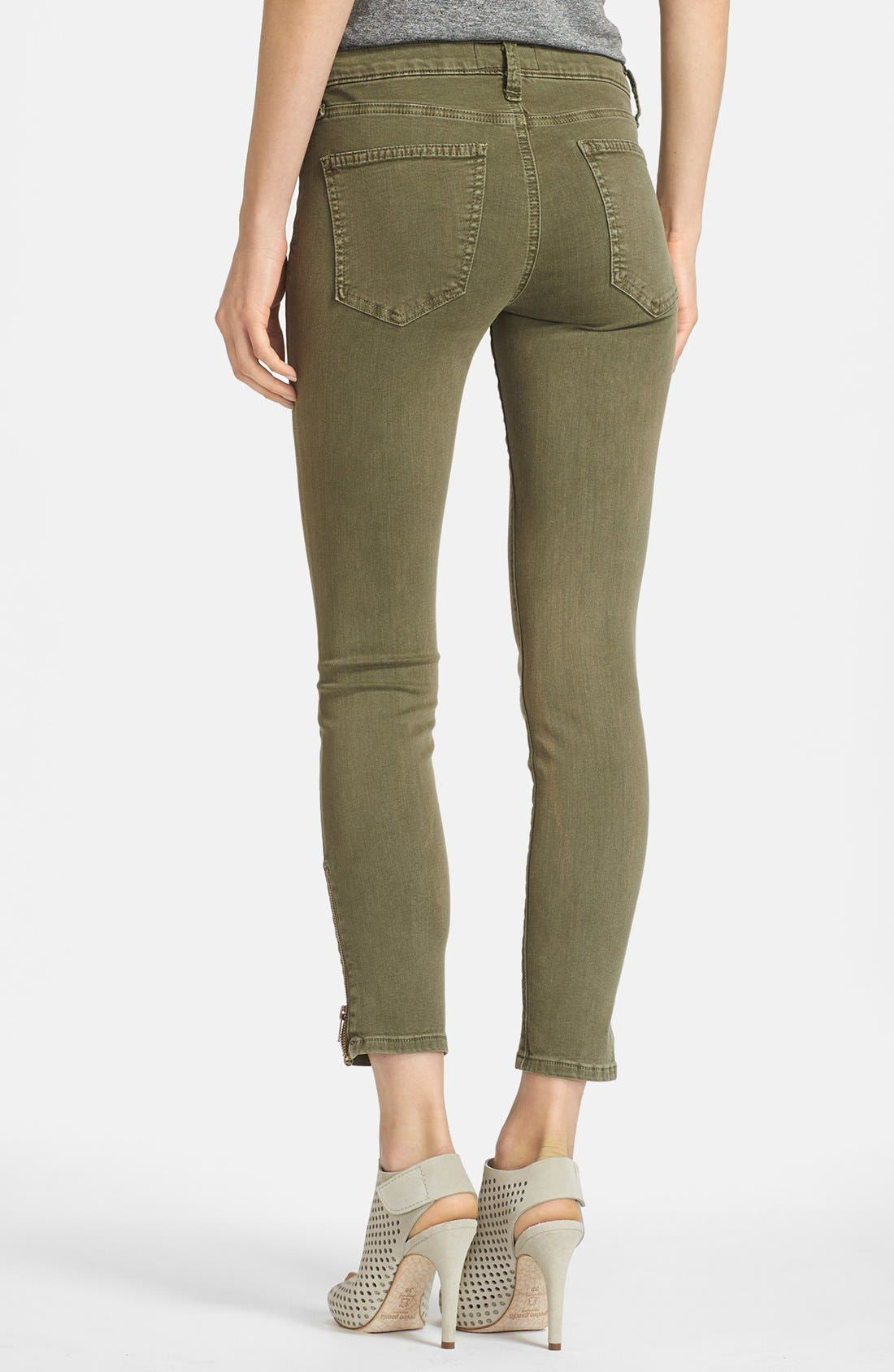 Alternate Image 2  - Current/Elliott 'The Soho Zip Stiletto' Skinny Jeans (Army)