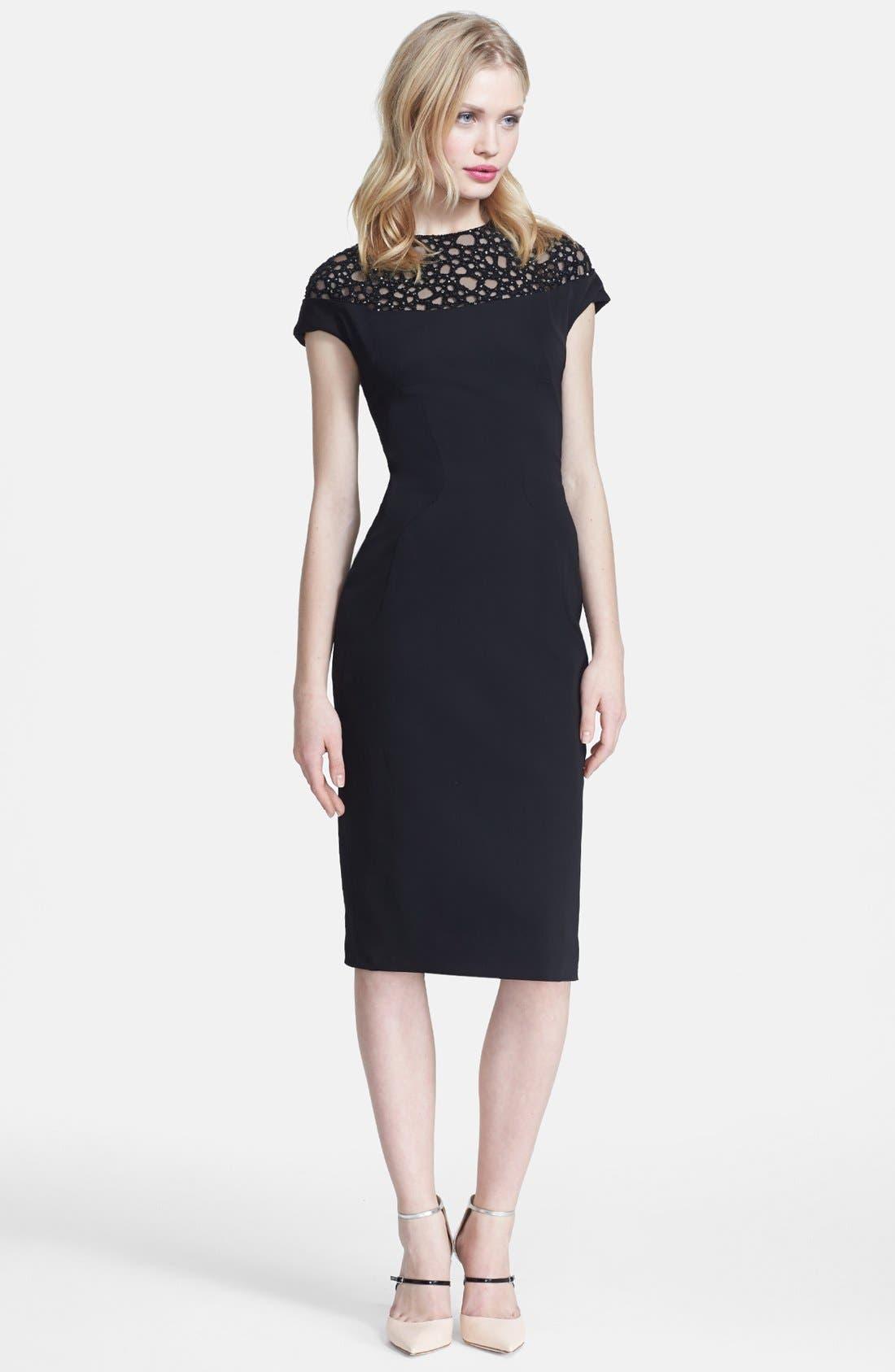Main Image - Lela Rose Embellished Yoke Sheath Dress