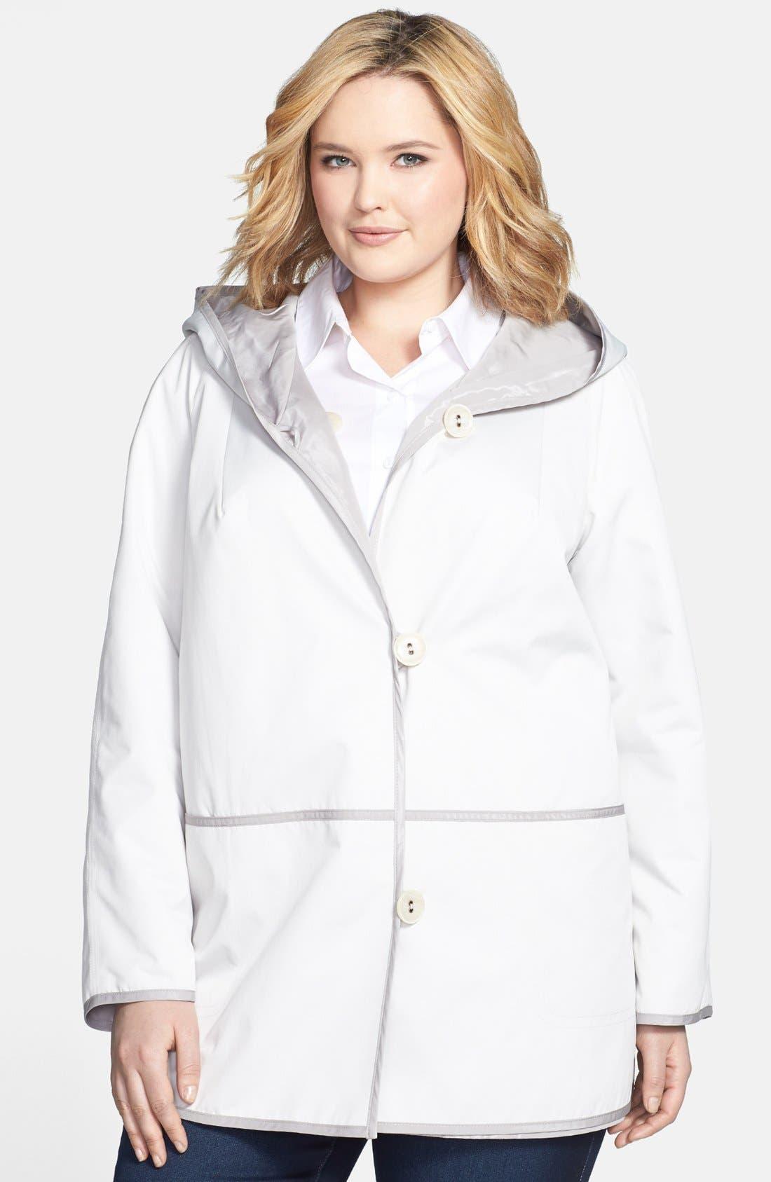 Alternate Image 1 Selected - Gallery Reversible Hooded Raincoat (Plus Size)