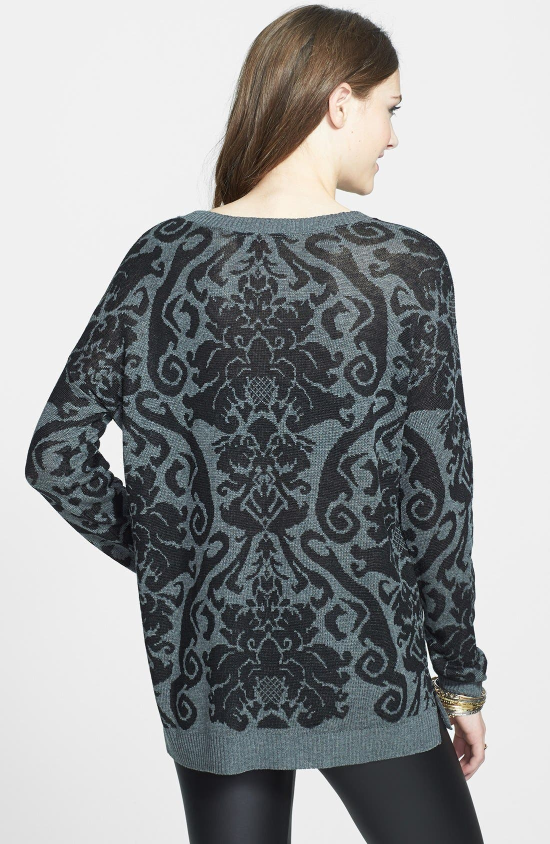 Alternate Image 2  - Absolutely Cotton Baroque Pattern Sweater (Juniors)