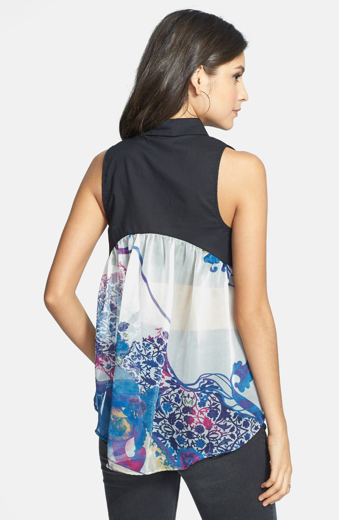Alternate Image 1 Selected - ANM Mixed Media Sleeveless Shirt (Juniors) (Online Only)