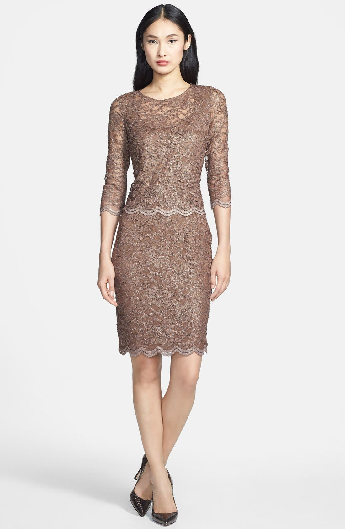Alternate Image 3  - Alex Evenings Mock Two-Piece Lace Sheath Dress