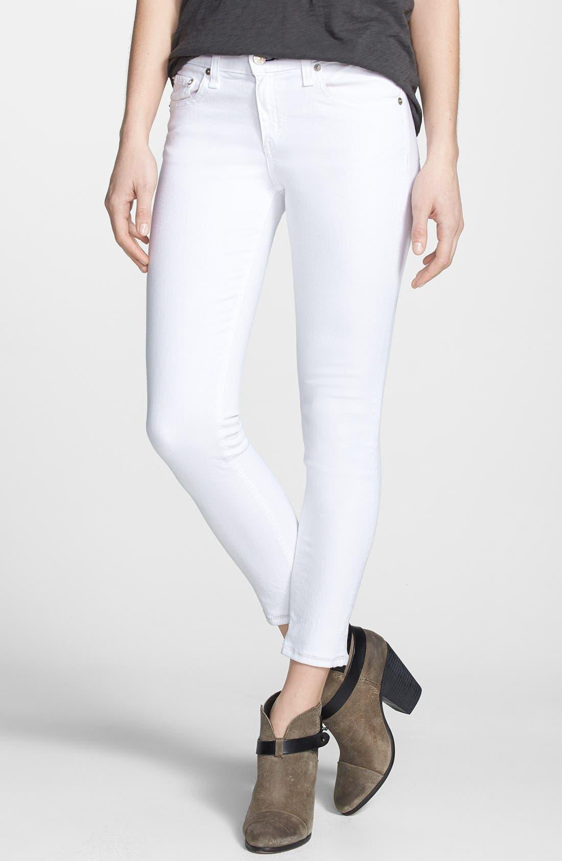 Main Image - rag & bone/JEAN 'Repair' Skinny Crop Jeans (Bright White)
