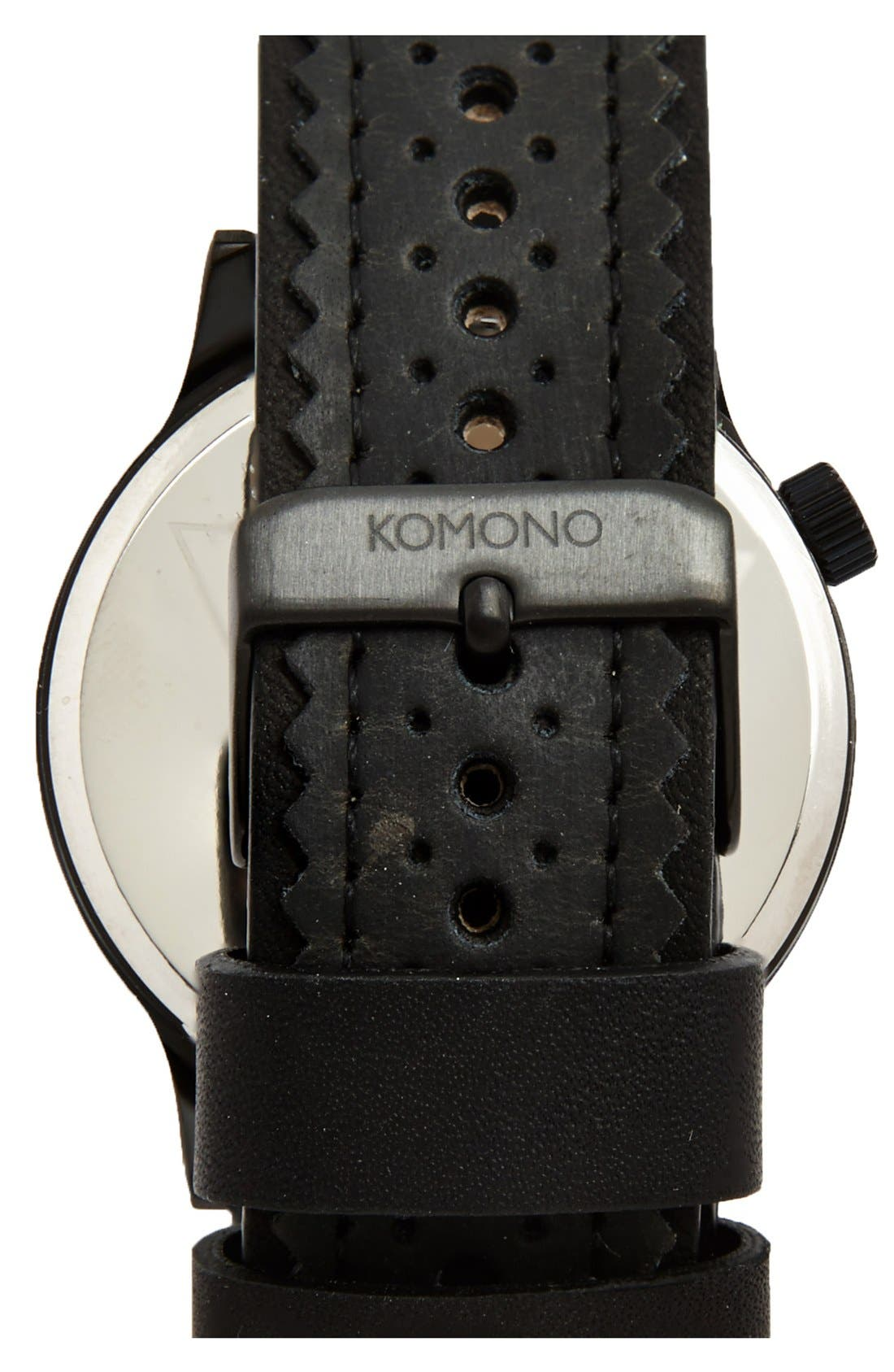 Alternate Image 2  - Komono 'Winston' Round Dial Brogue Leather Strap Watch, 42mm