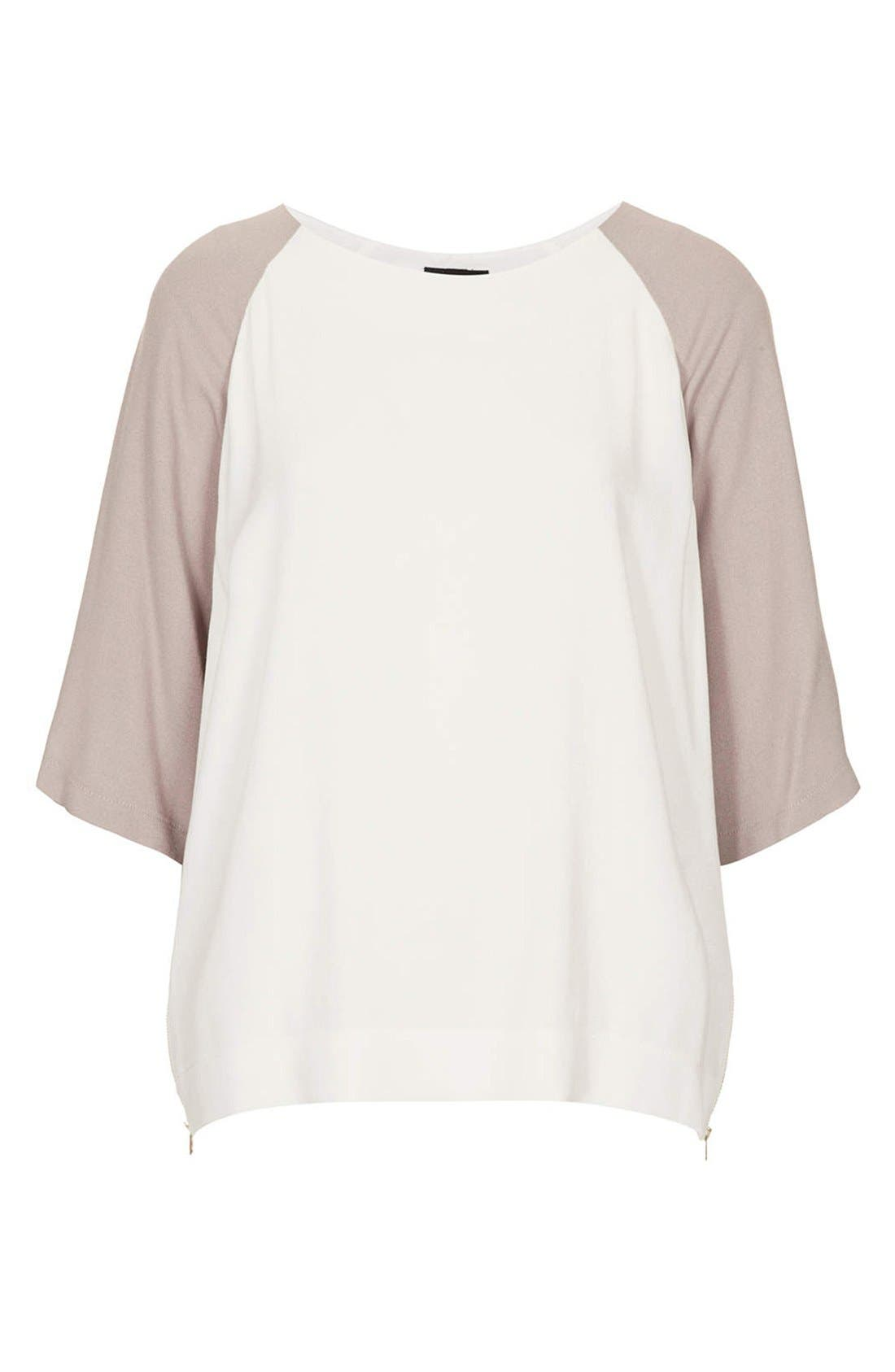 Alternate Image 4  - Topshop Colorblock Crepe Tunic