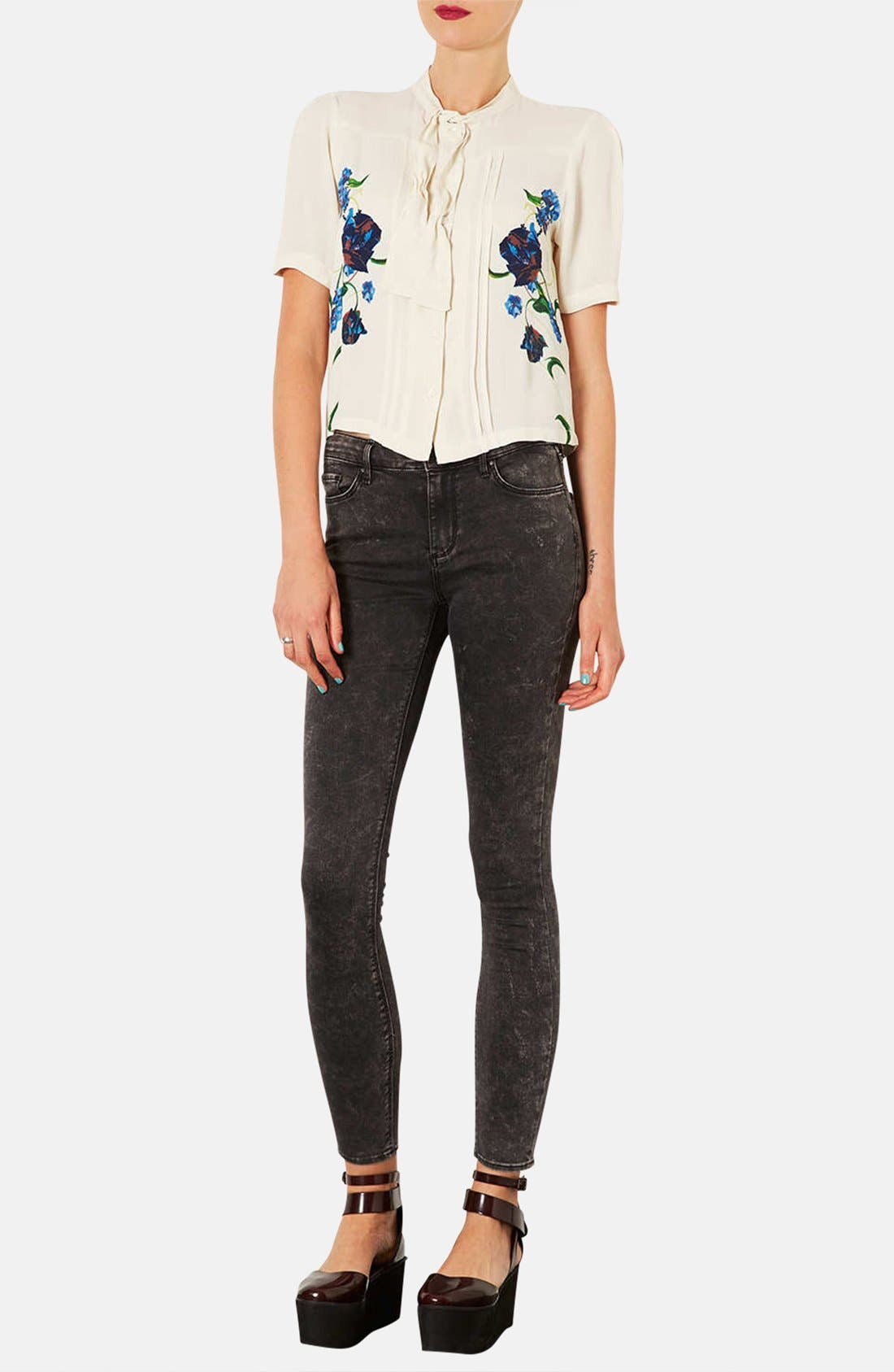 Alternate Image 4  - Topshop Moto 'Leigh' Mottled Skinny Jeans (Regular & Short)