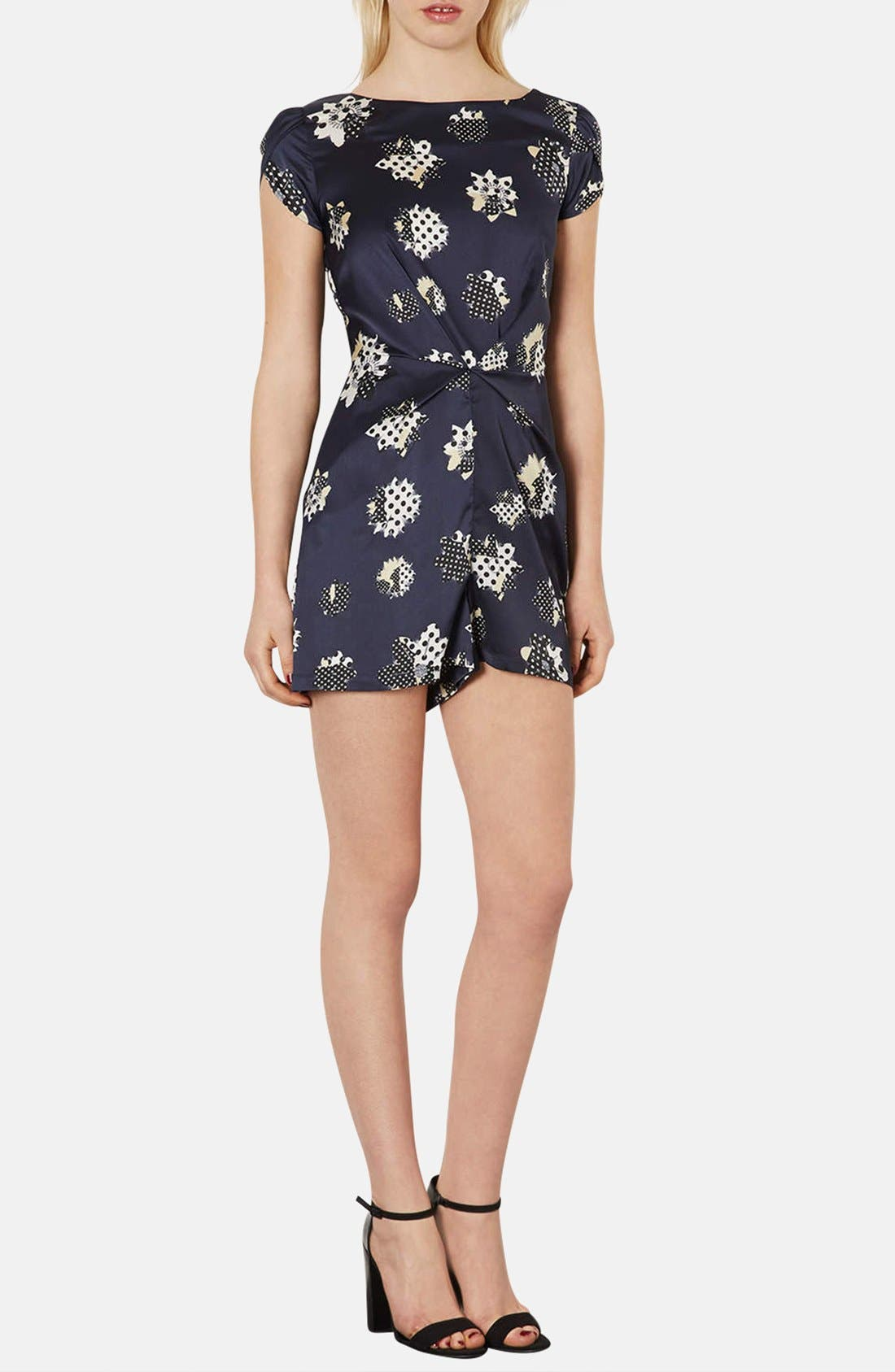Alternate Image 1 Selected - Topshop Mixed Print Gathered Satin Romper