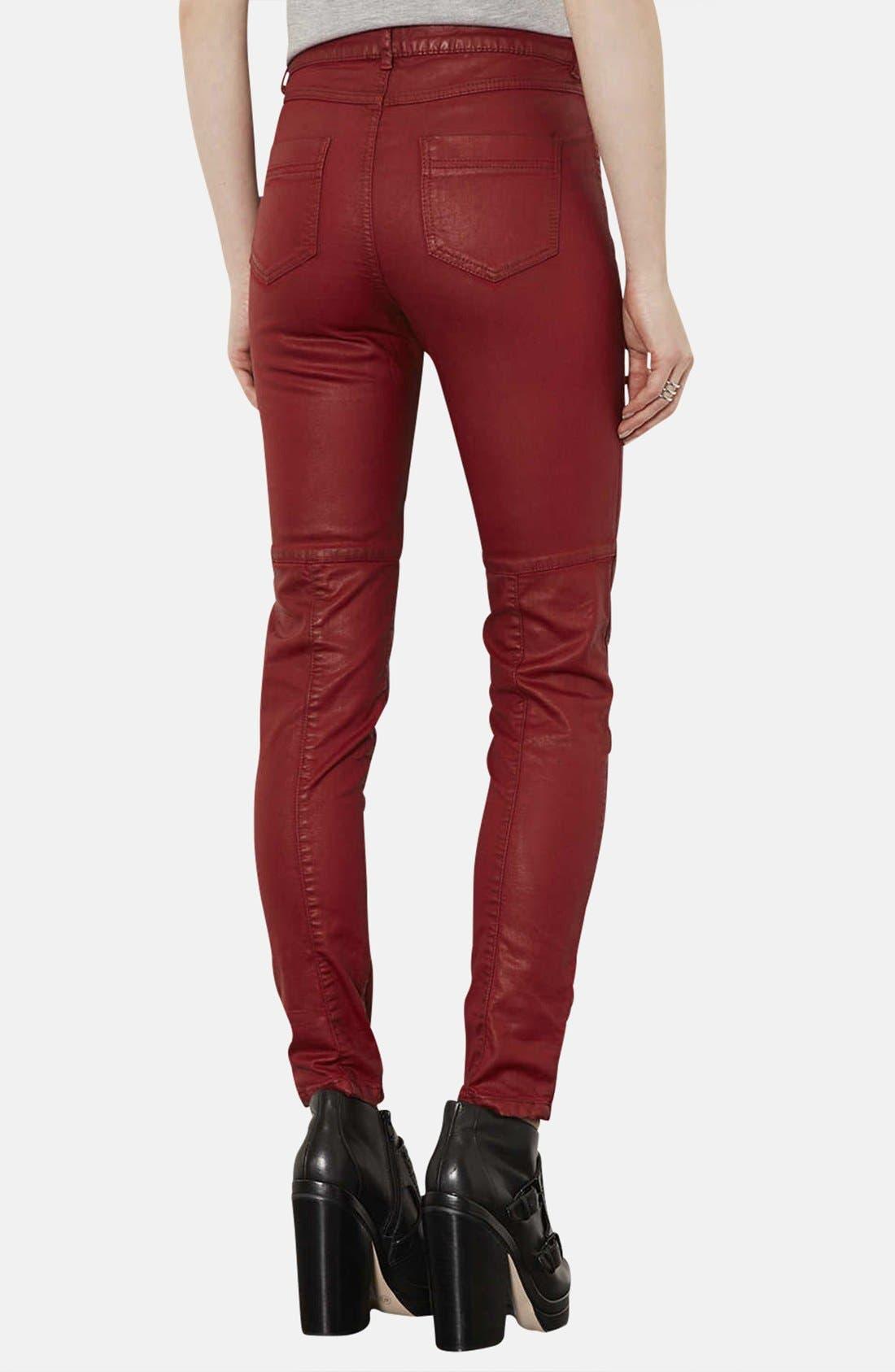 Alternate Image 2  - Topshop Coated Skinny Biker Pants