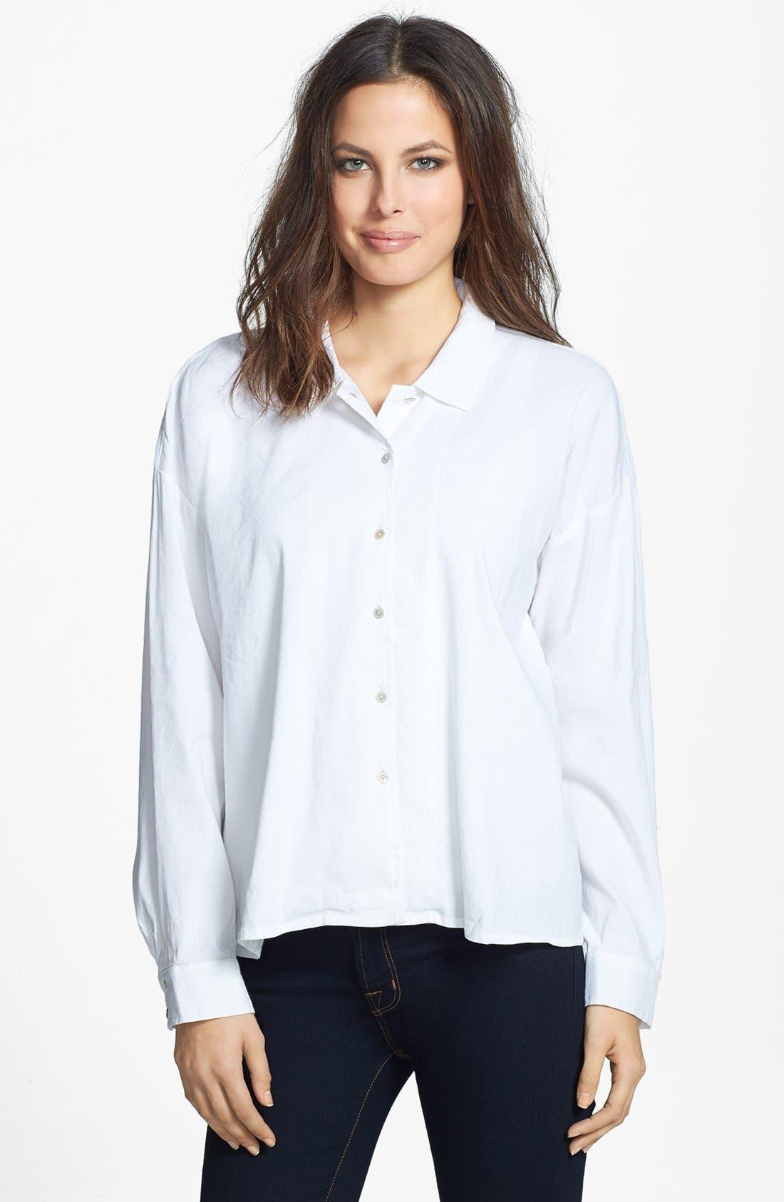 Main Image - Eileen Fisher Classic Collar Linen Blend Shirt