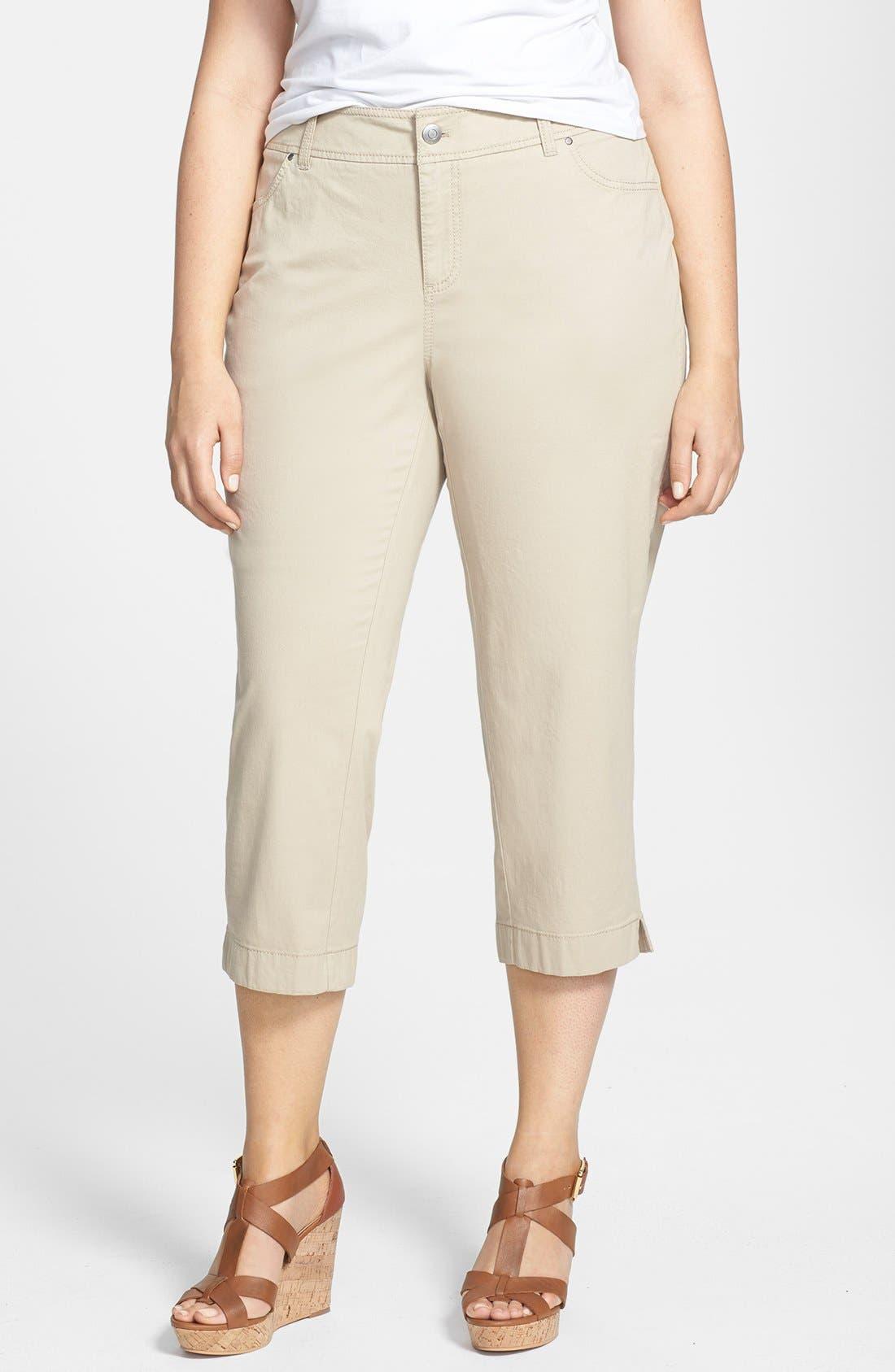 Alternate Image 1 Selected - Sejour 'Megan' Stretch Cotton Crop Pants (Plus Size)