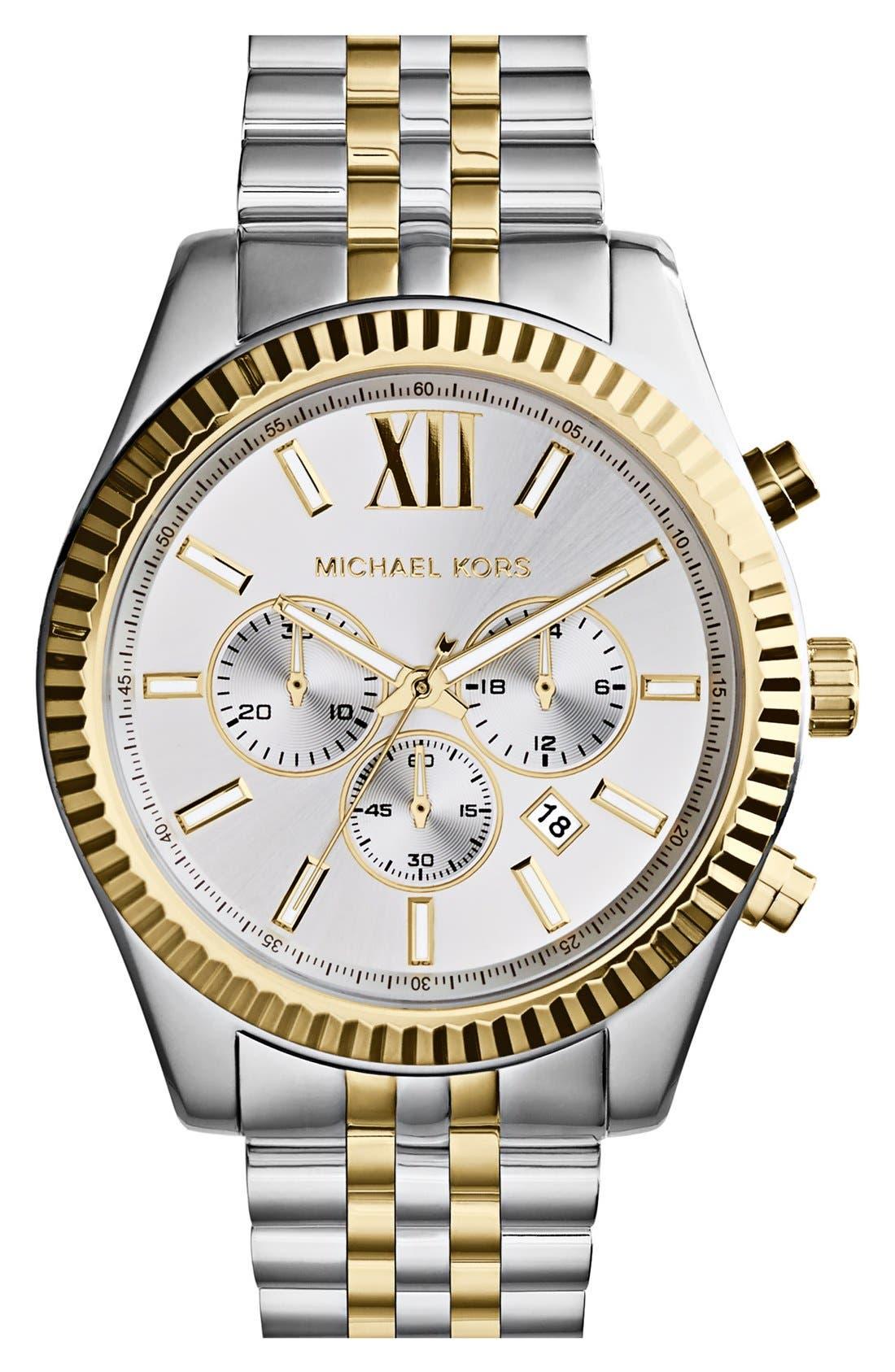 Large Lexington Chronograph Bracelet Watch, 45mm,                         Main,                         color, Silver/ Gold