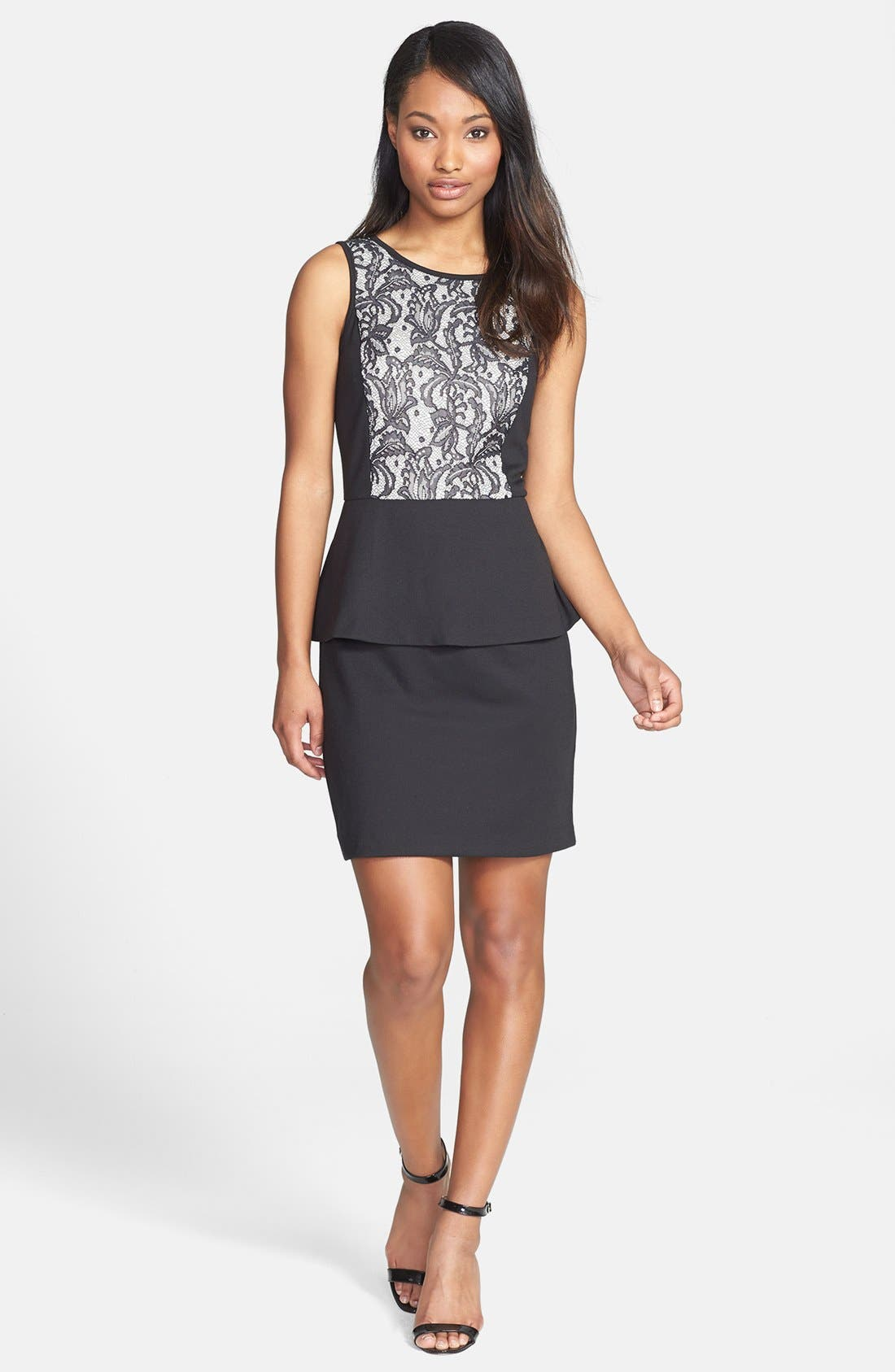 Main Image - kensie Bonded Lace Peplum Sheath Dress