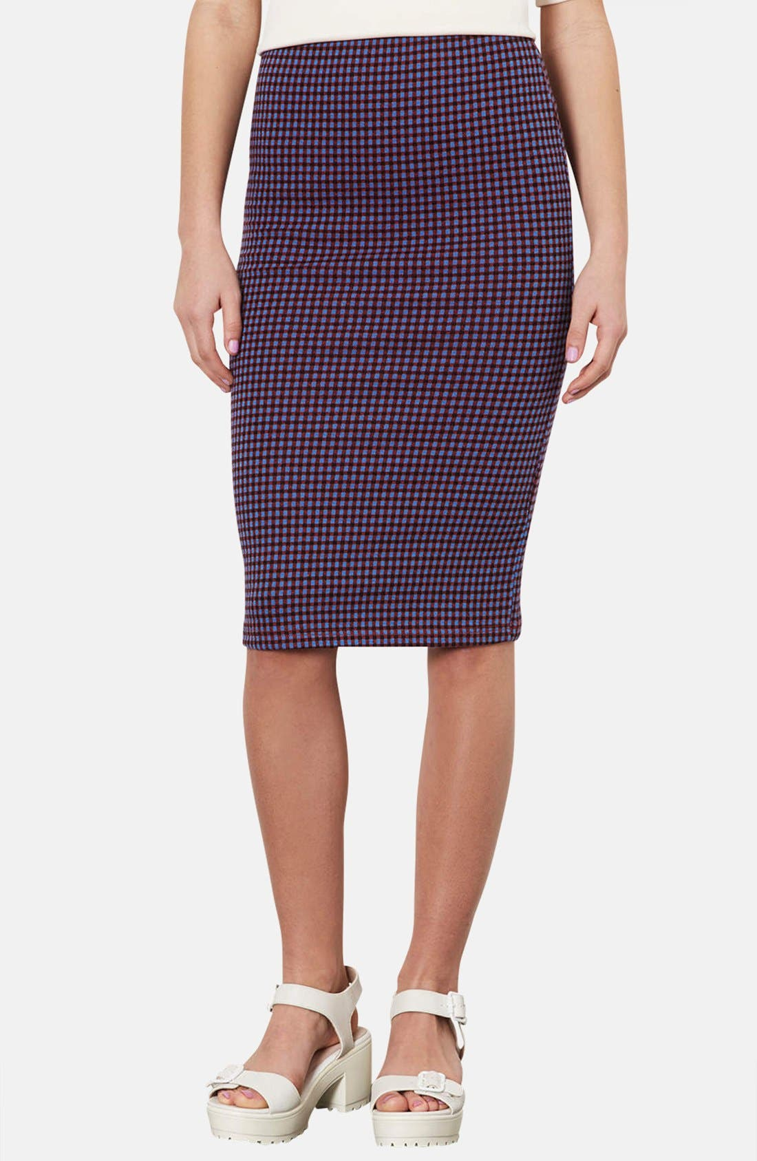 Main Image - Topshop Gingham Tube Skirt