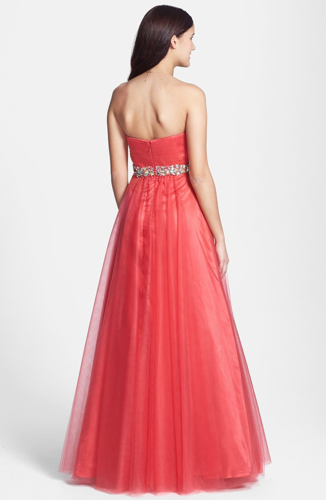 Alternate Image 2  - Sean Collection Embellished Strapless Tulle Ball Gown