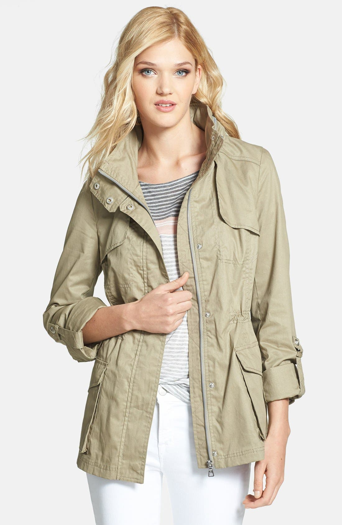 Alternate Image 1 Selected - Sam Edelman Cotton Roll-Sleeve Anorak