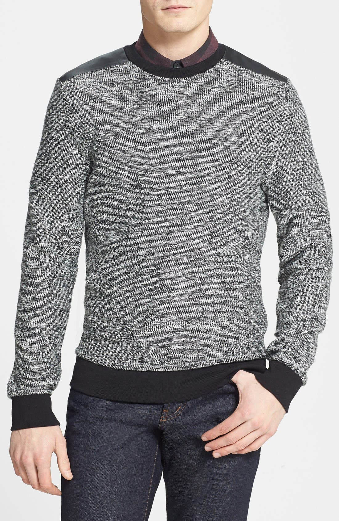 Alternate Image 1 Selected - Topman Crewneck Sweatshirt with Faux Leather Shoulder Trim