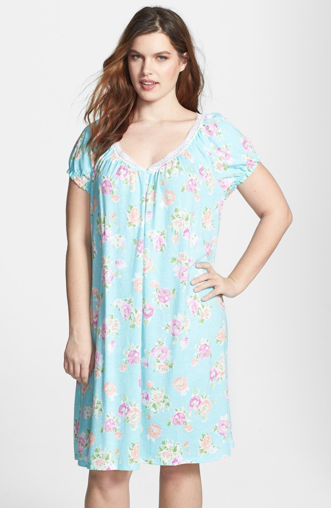 Alternate Image 1 Selected - Lauren Ralph Lauren Knit Jersey Nightgown