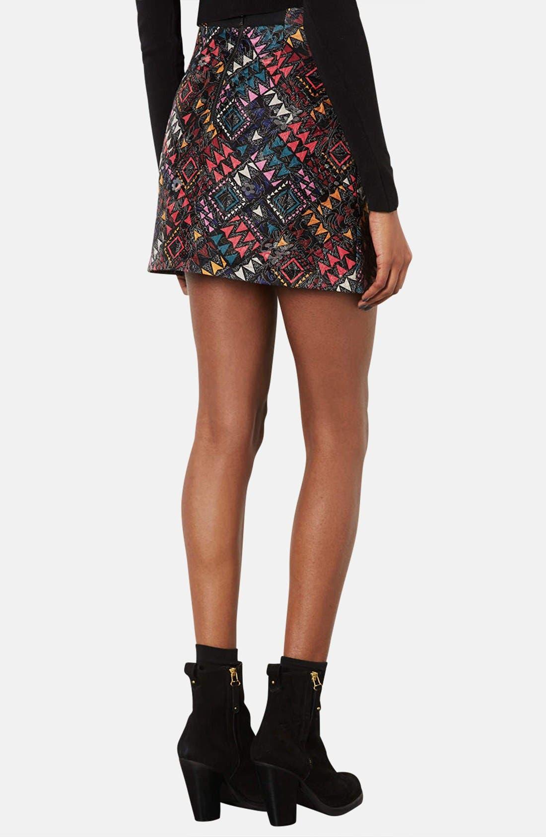 Alternate Image 2  - Topshop Geo Print Quilted Miniskirt