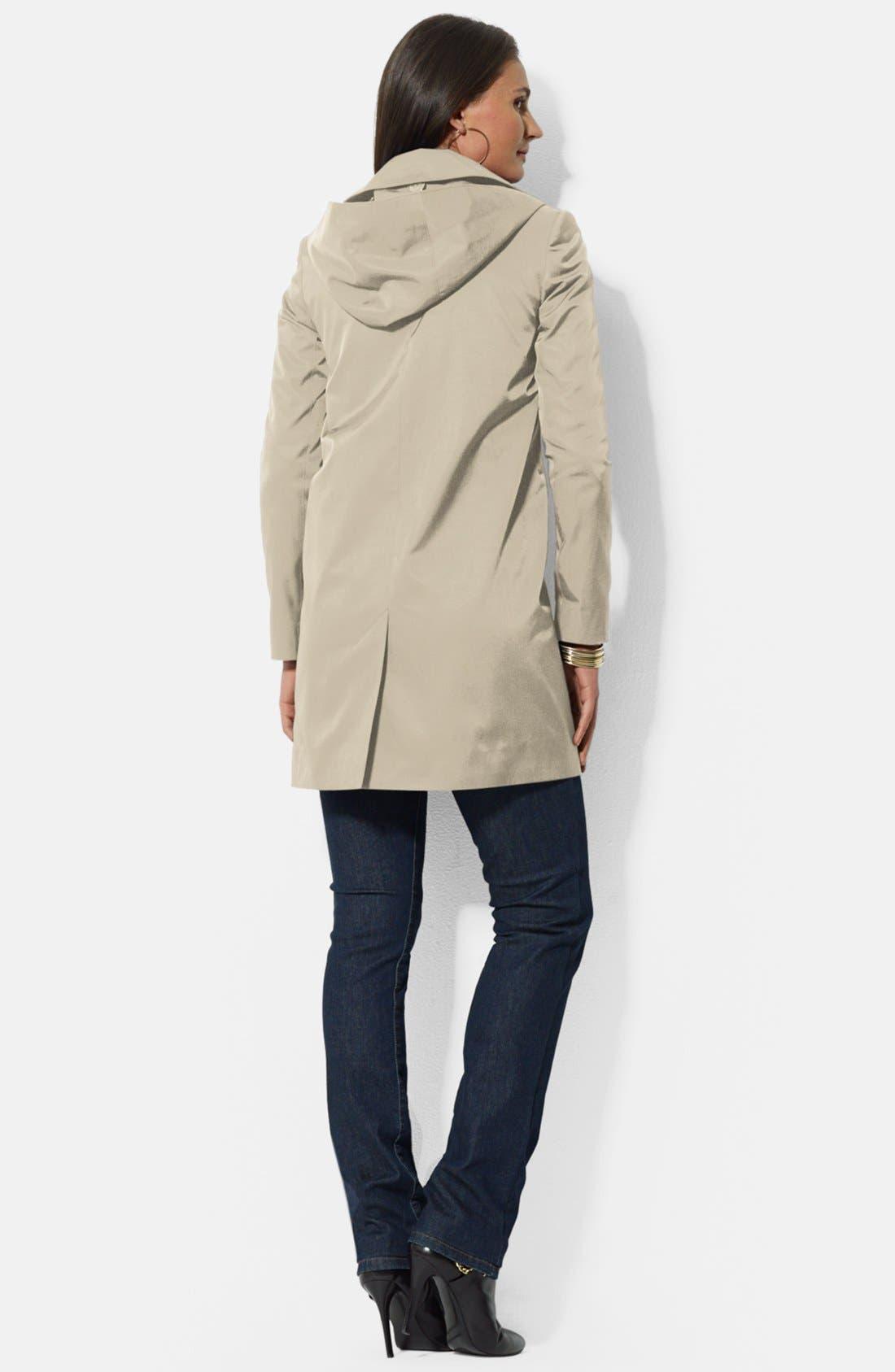 Alternate Image 2  - Lauren Ralph Lauren Bonded Cotton A-Line Jacket with Detachable Hood