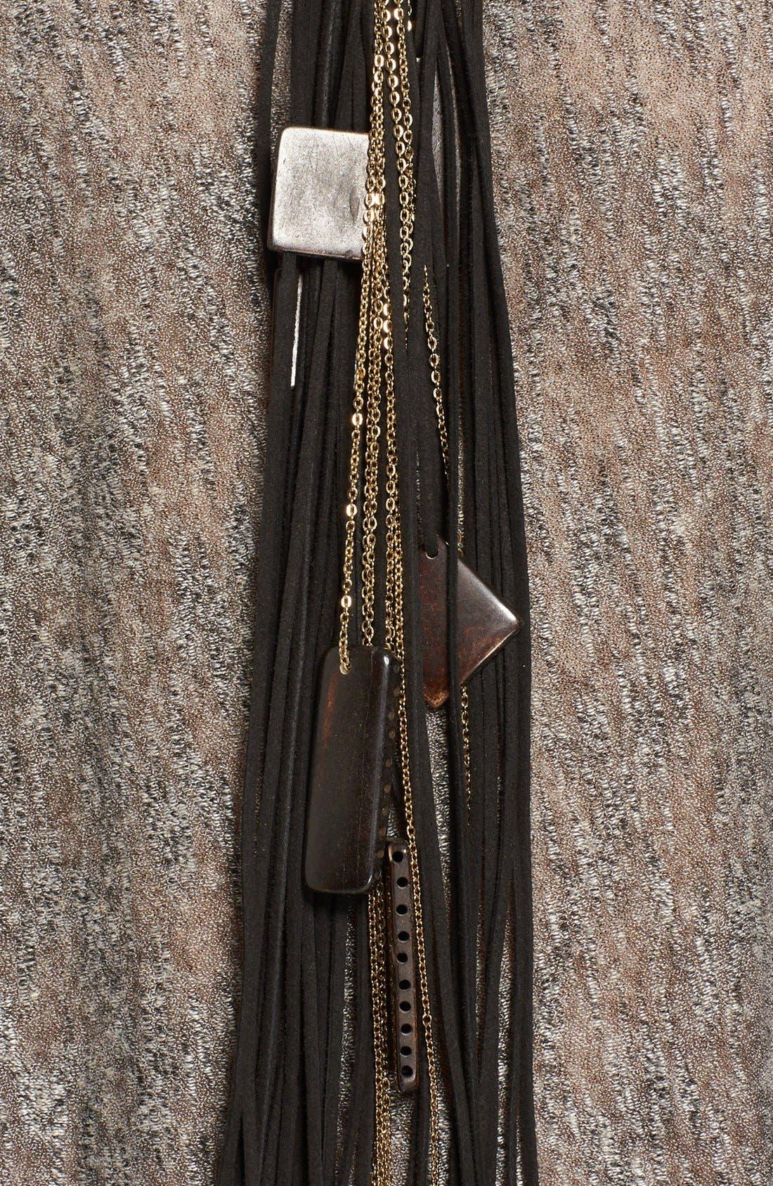 Alternate Image 2  - Donna Karan Beaded Leather Fringe Necklace