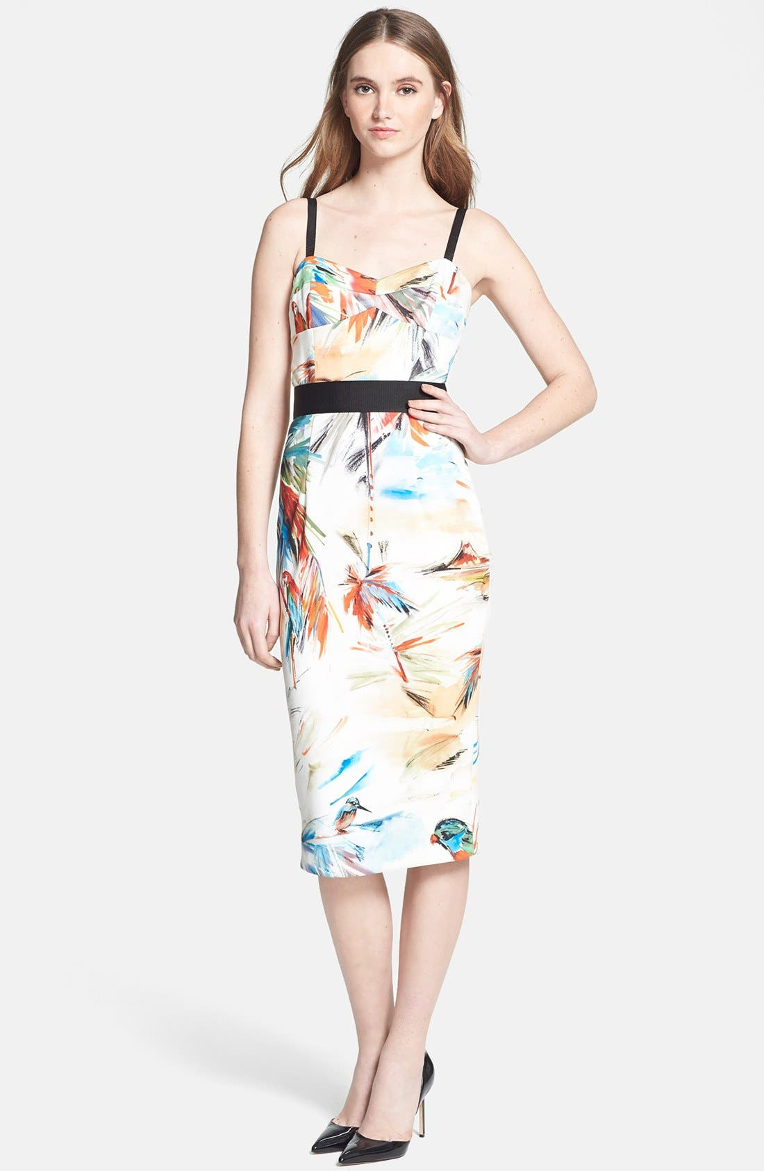 Alternate Image 1 Selected - Milly Contrast Trim Print Dress