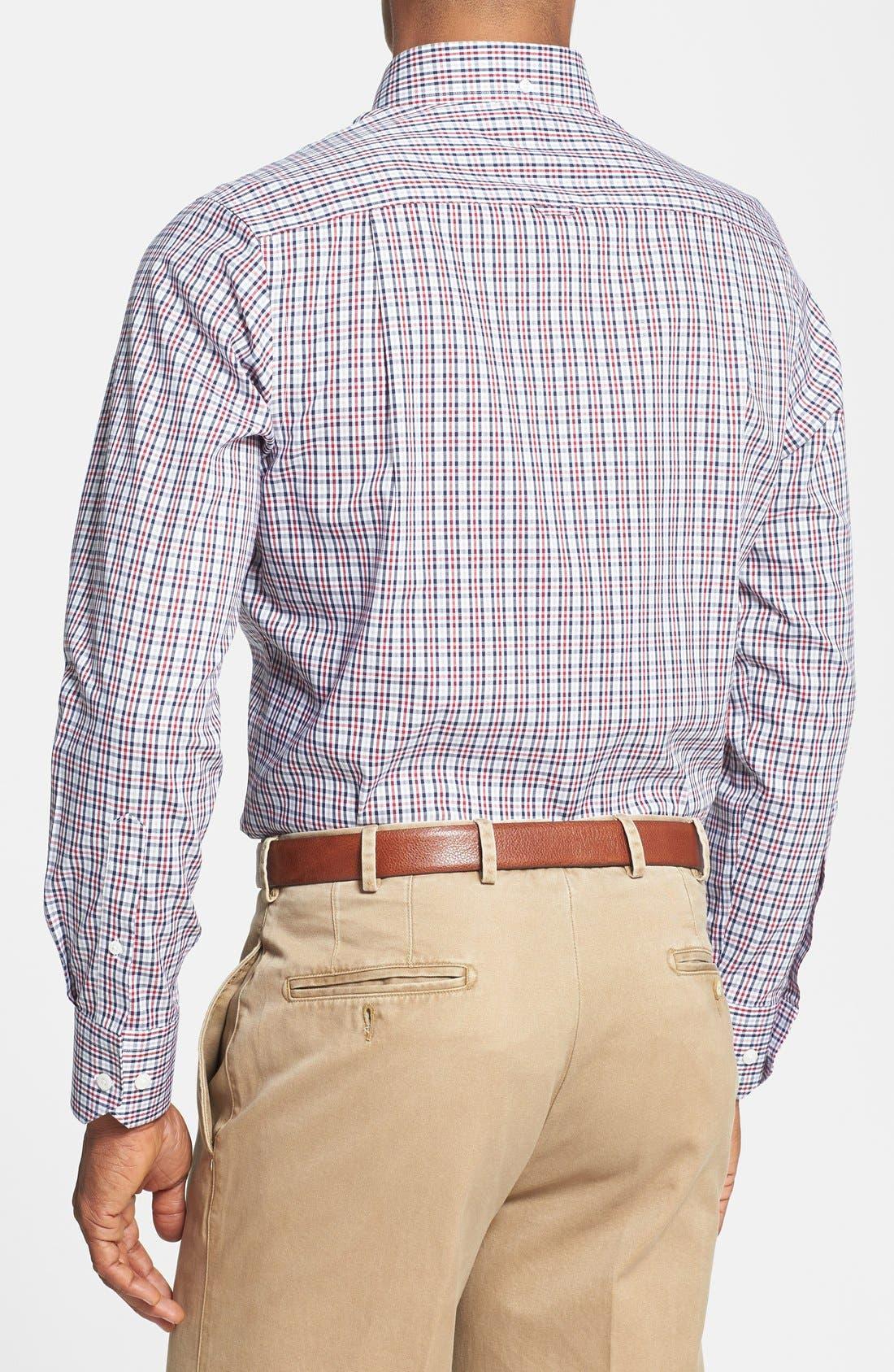 Check Regular Fit Sport Shirt,                             Alternate thumbnail 2, color,                             Navy Red Check