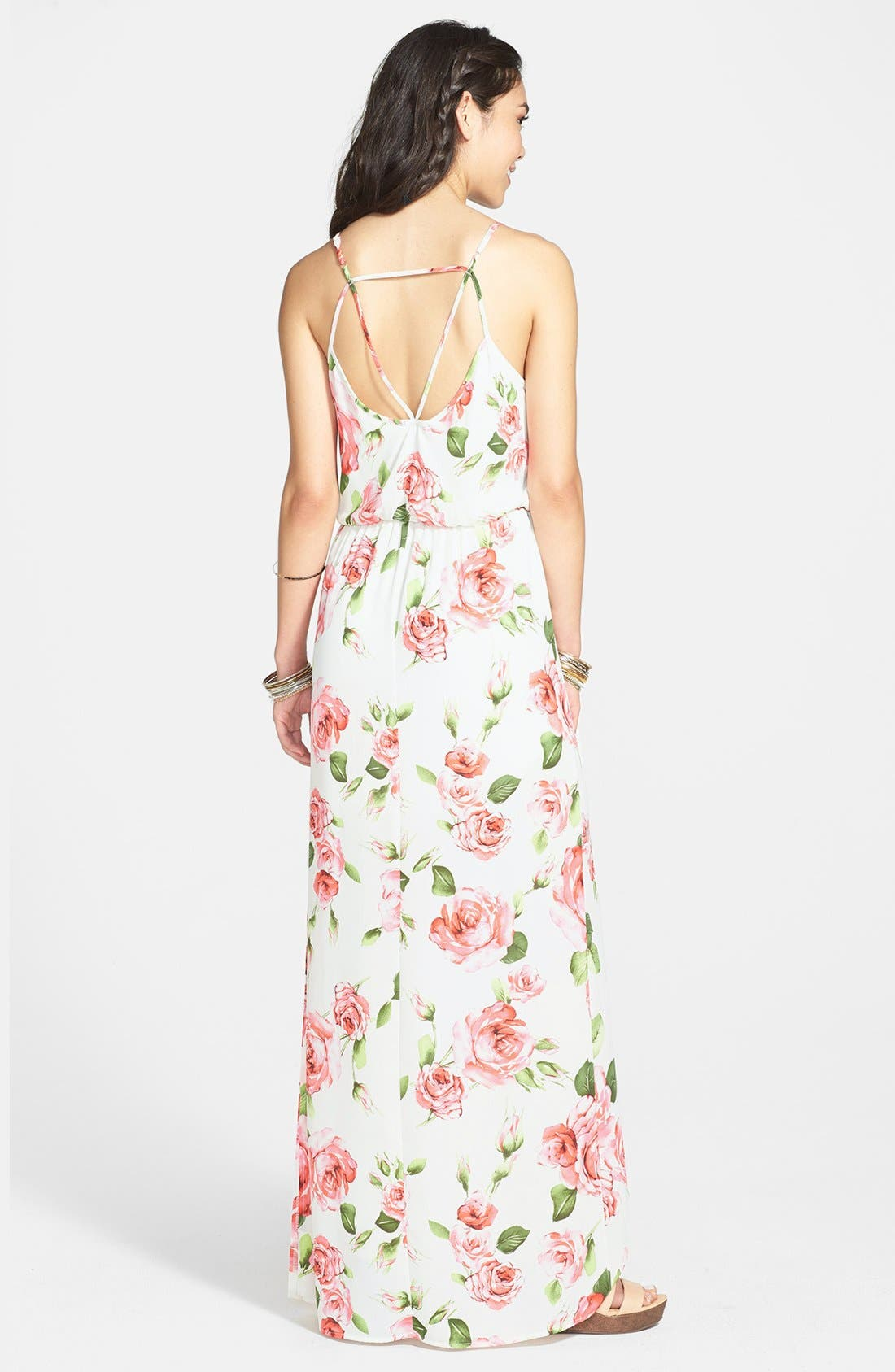 Alternate Image 2  - Lush Cage Strap Floral Maxi Dress (Juniors) (Online Only)