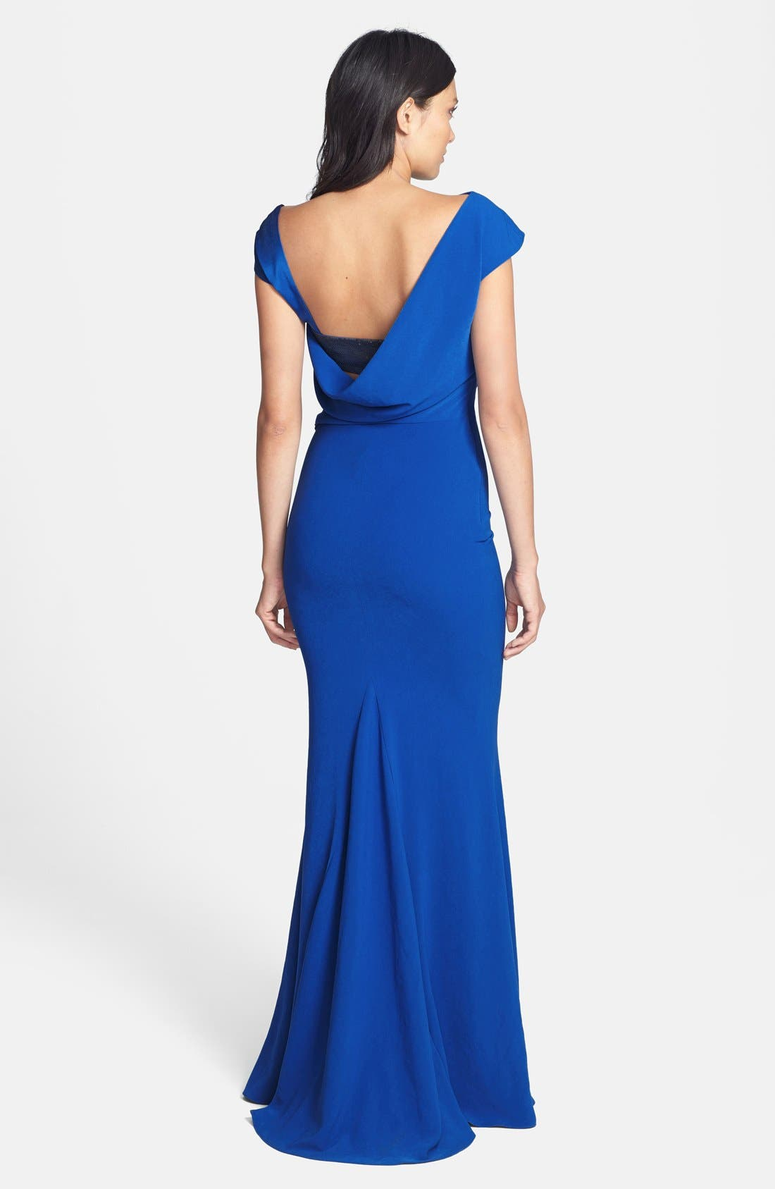 Alternate Image 2  - Halston Heritage Asymmetrical Neck Crepe Gown