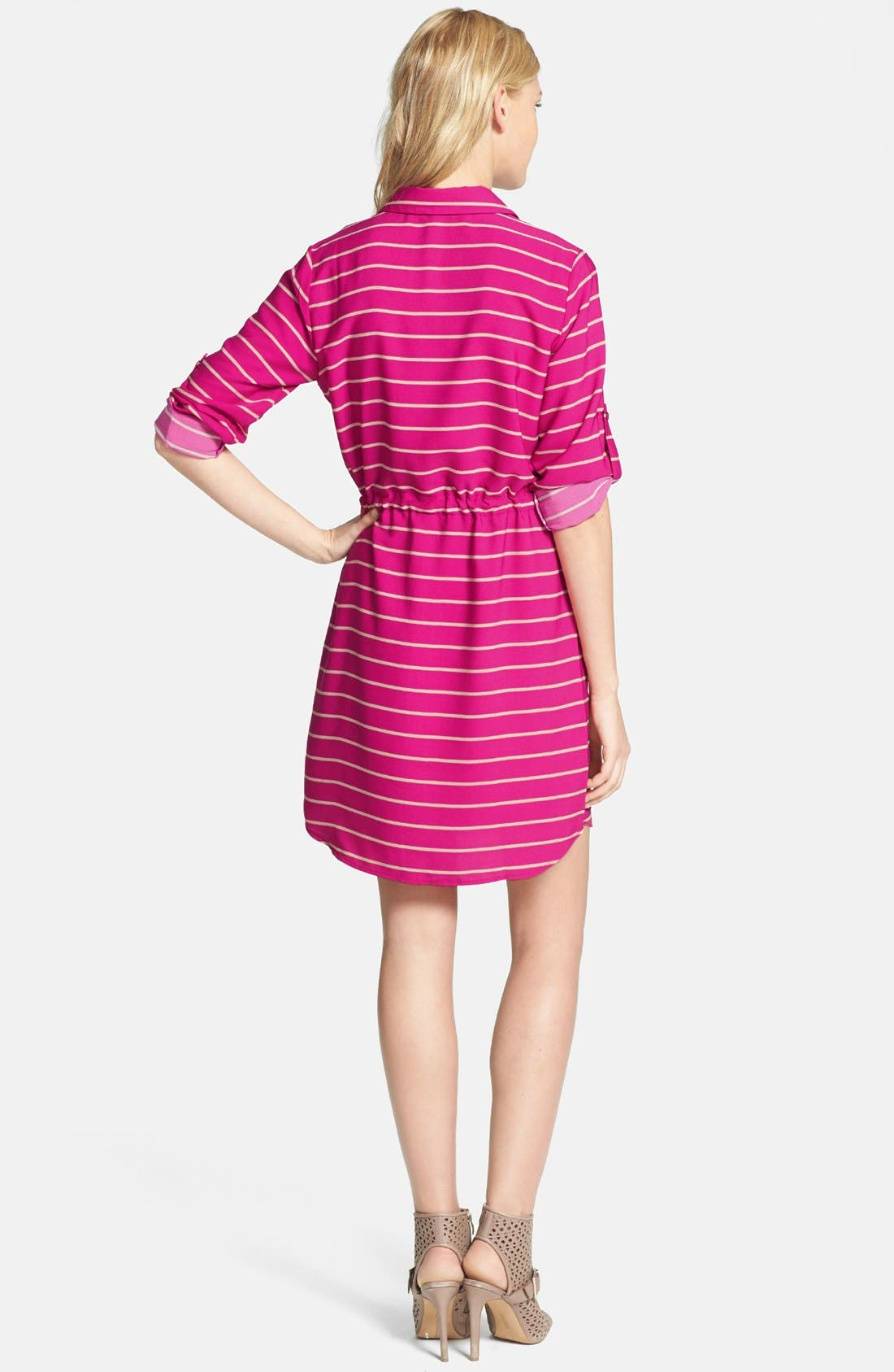 Alternate Image 3  - Collective Concepts Stripe Roll Sleeve Crêpe de Chine Shirtdress