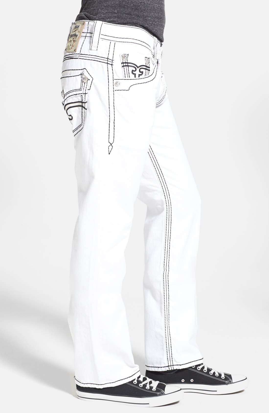 Alternate Image 3  - Rock Revival 'Dan' Straight Leg Jeans (White)