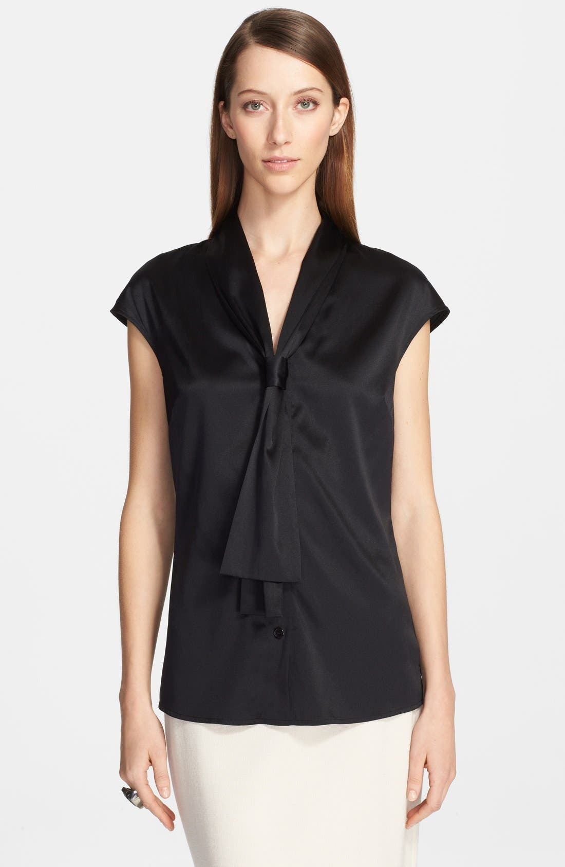 Main Image - St. John Collection Tie Neck Silk Charmeuse Shell