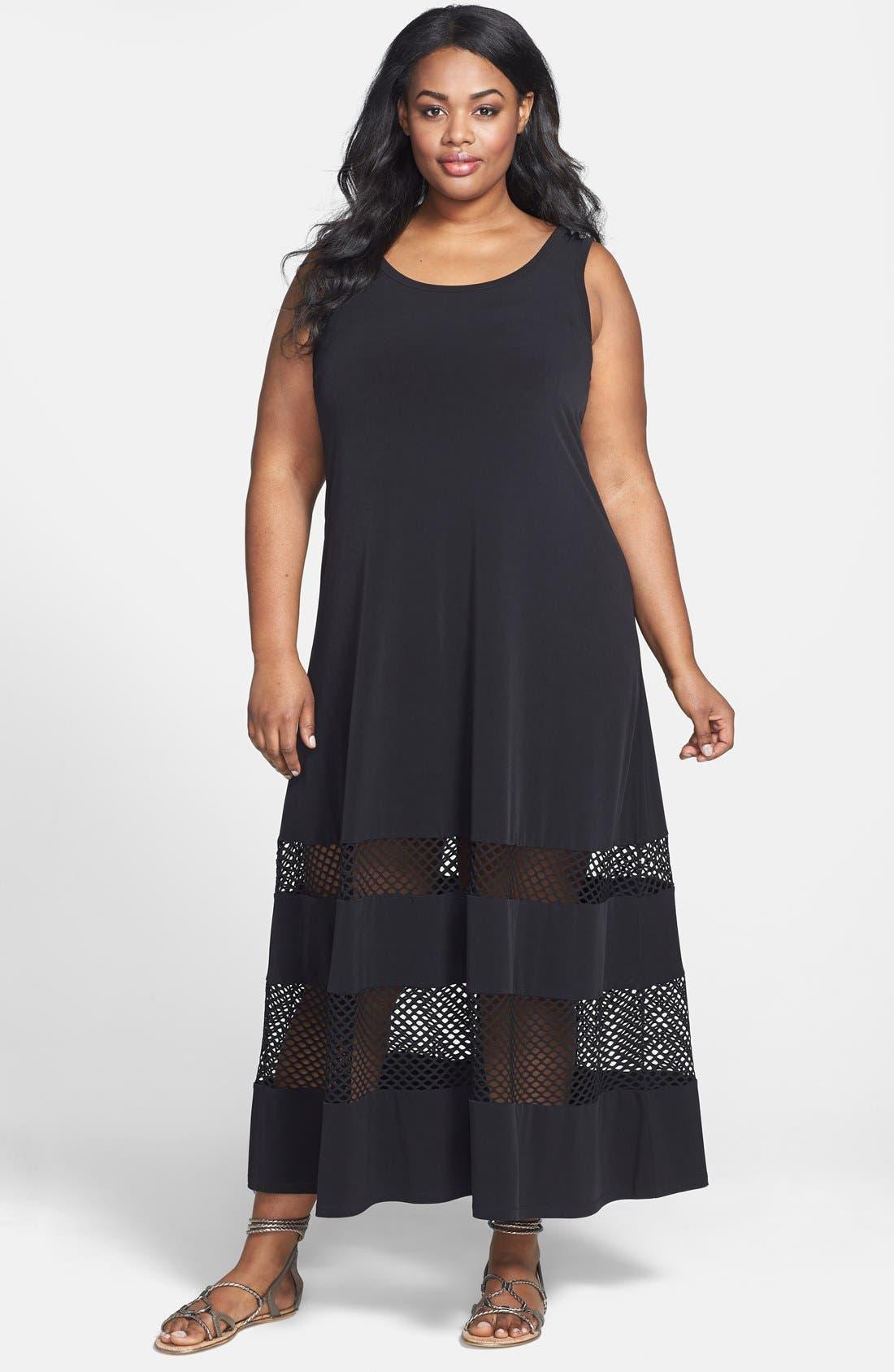 Main Image - Calvin Klein Mesh Inset Matte Jersey Maxi Dress (Plus Size)