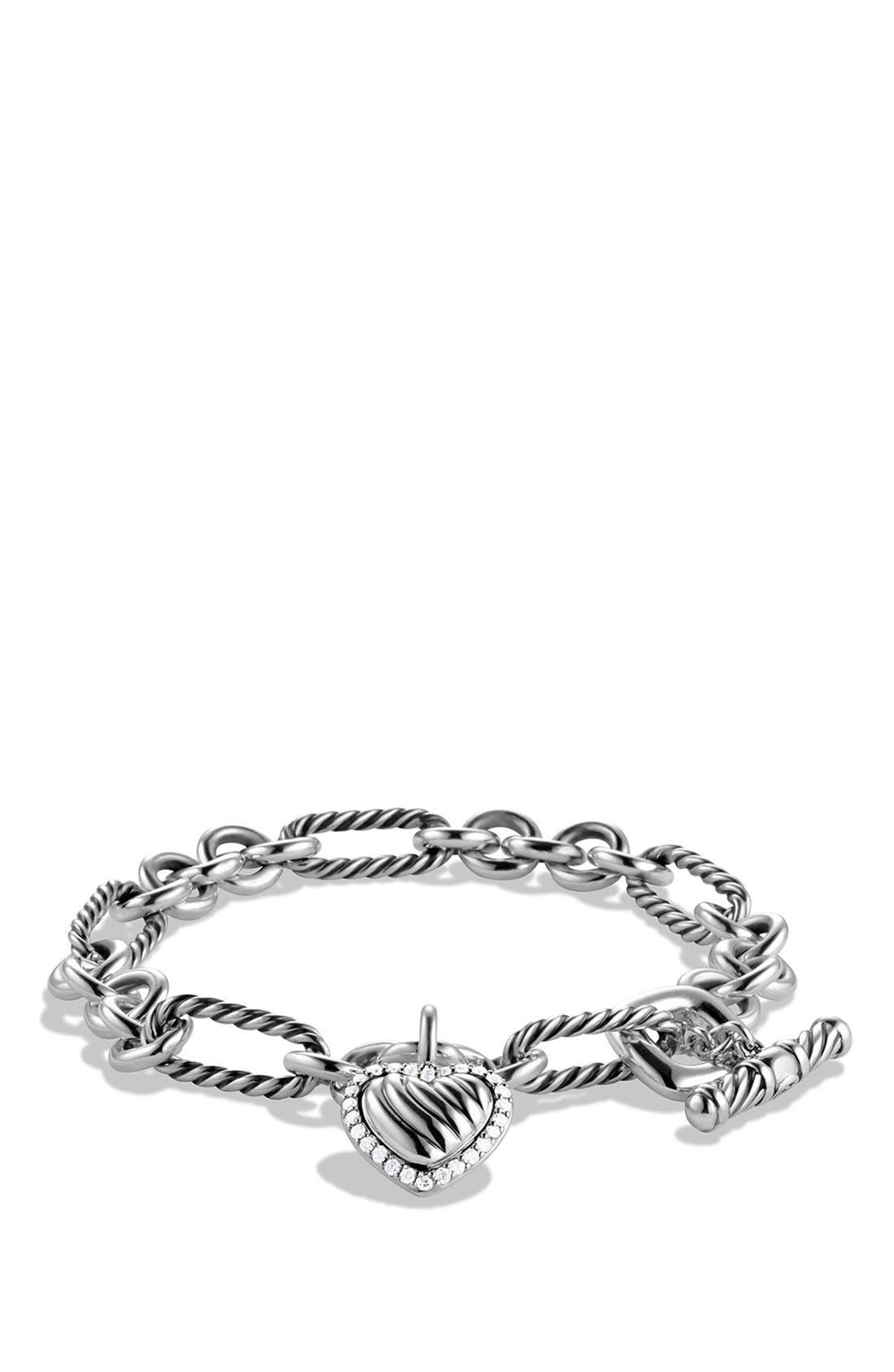 Alternate Image 1 Selected - David Yurman 'Cable Heart' Charm Bracelet with Diamonds