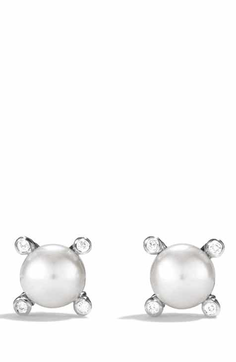 David Yurman Small Pearl Earrings With Diamonds