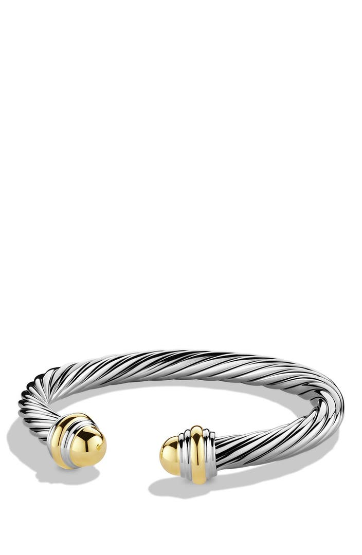 David yurman 39 cable classics 39 bracelet with gold domes for David yurman inspired bracelet cable