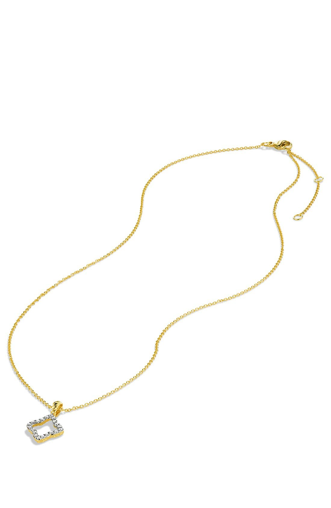 Alternate Image 3  - David Yurman 'Cable Collectibles' Quatrefoil Pendant with Diamonds in Gold on Chain