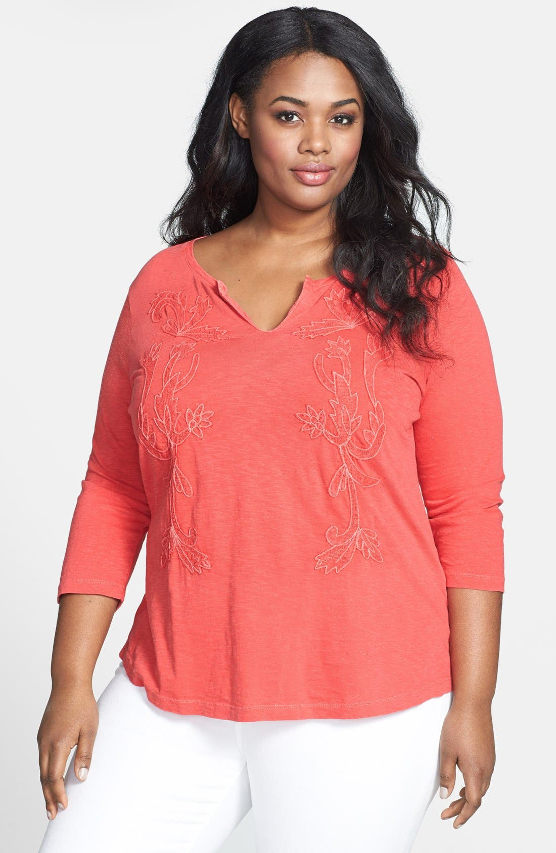 Alternate Image 1 Selected - Lucky Brand Overdyed Soutache Tee (Plus Size)