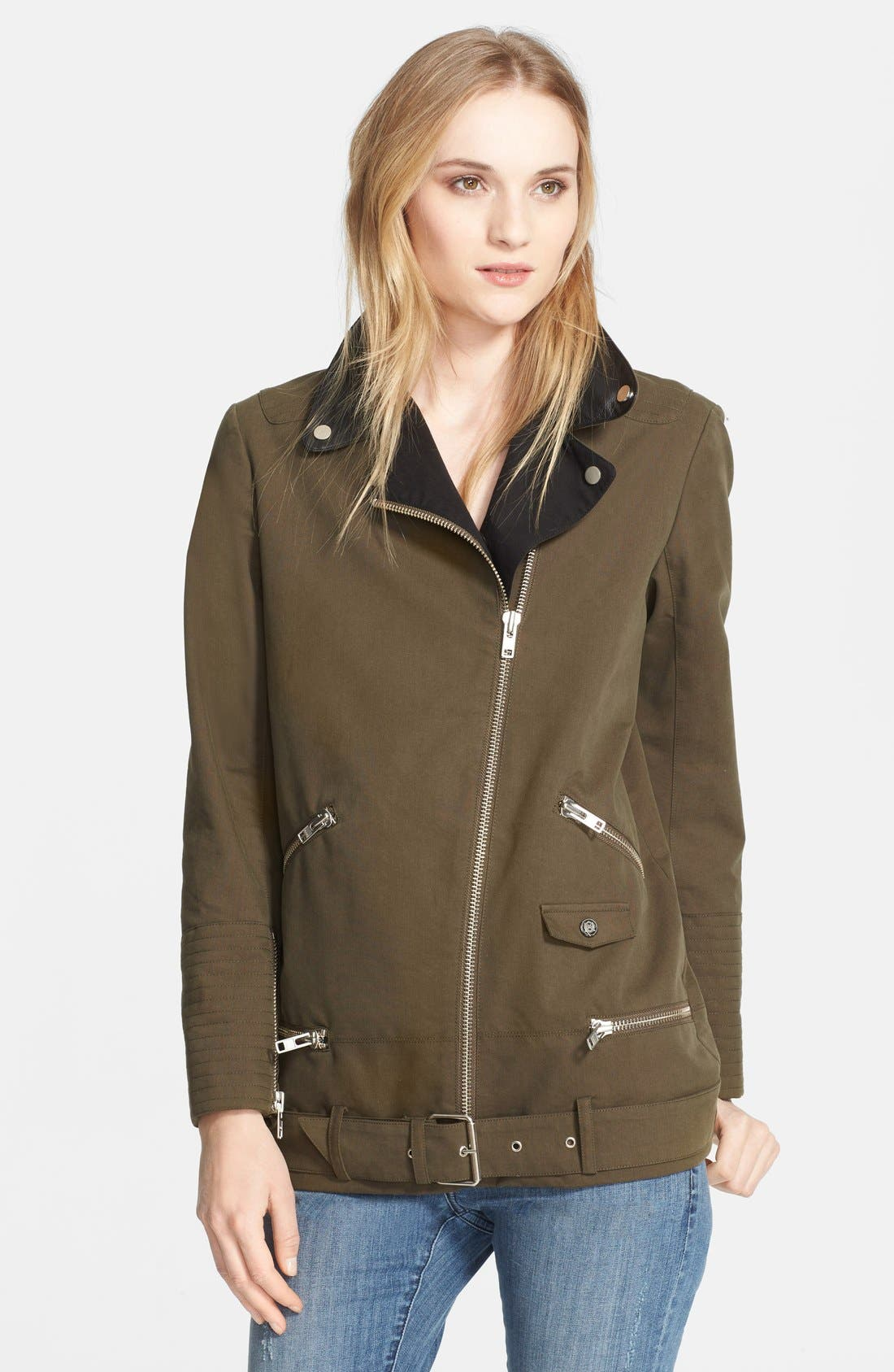 Main Image - The Kooples Leather Detail Canvas Parka
