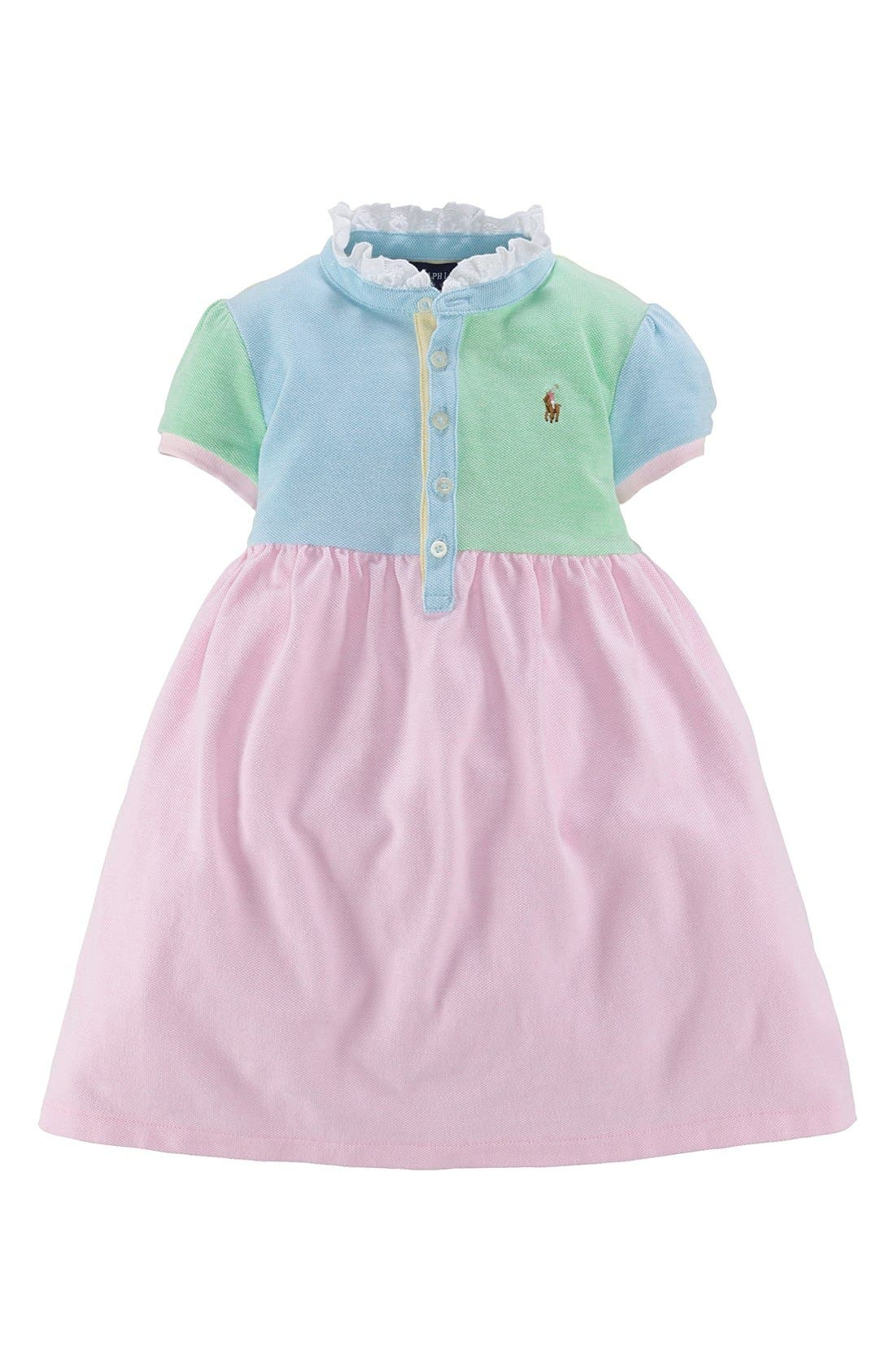 Alternate Image 1 Selected - Ralph Lauren Colorblock Dress (Toddler Girls)