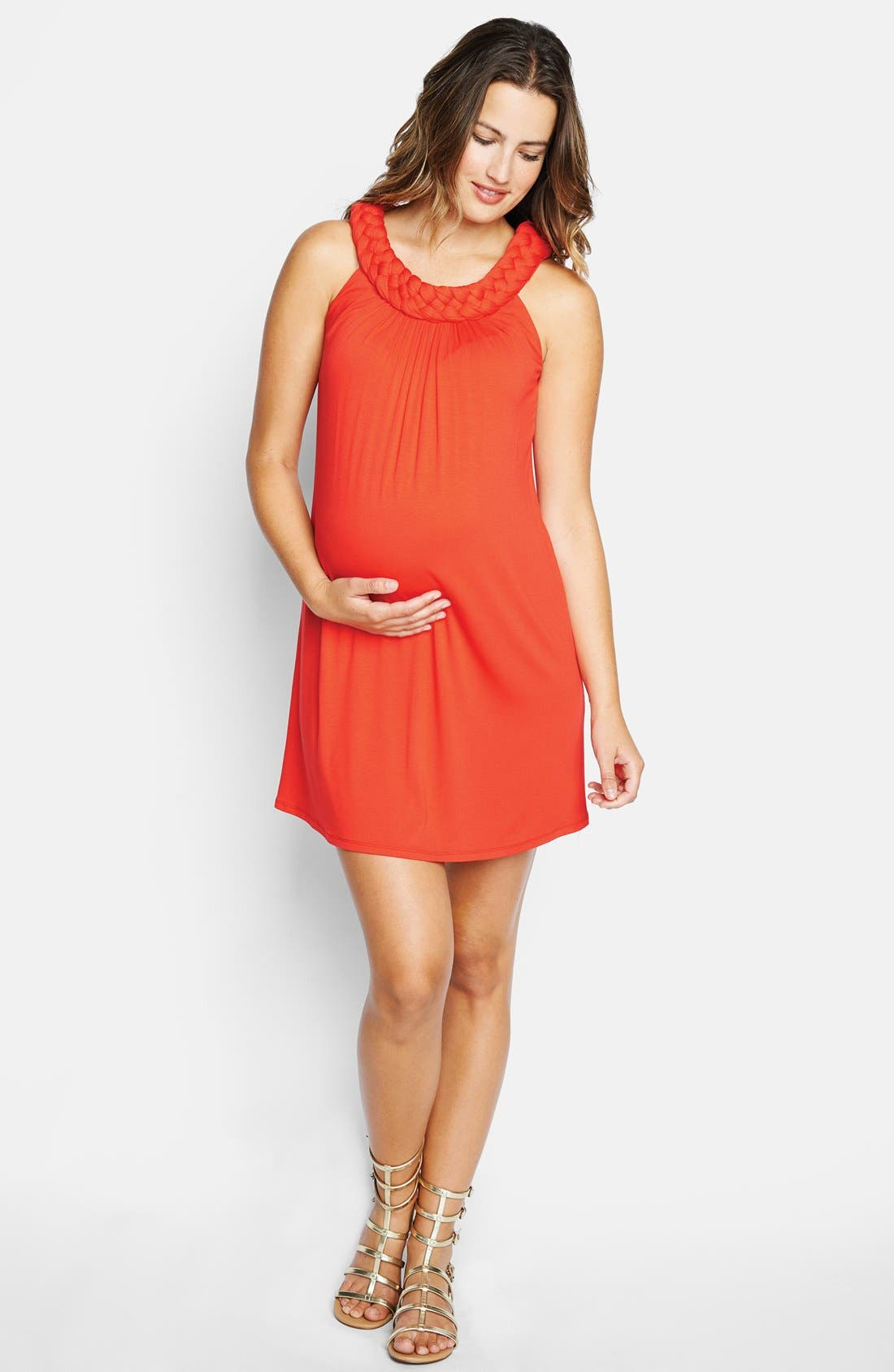 Braided Neck Dress,                         Main,                         color, Red