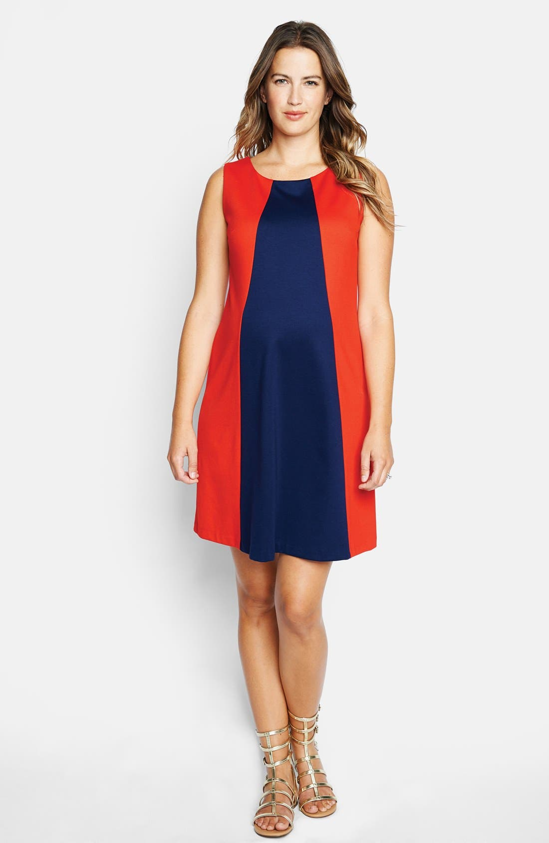 'Pyramid' Maternity Dress,                         Main,                         color, Red/ Navy